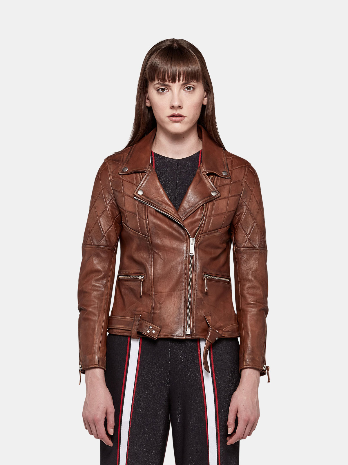 Golden Goose - Yasu biker jacket in brown nappa leather with star print in