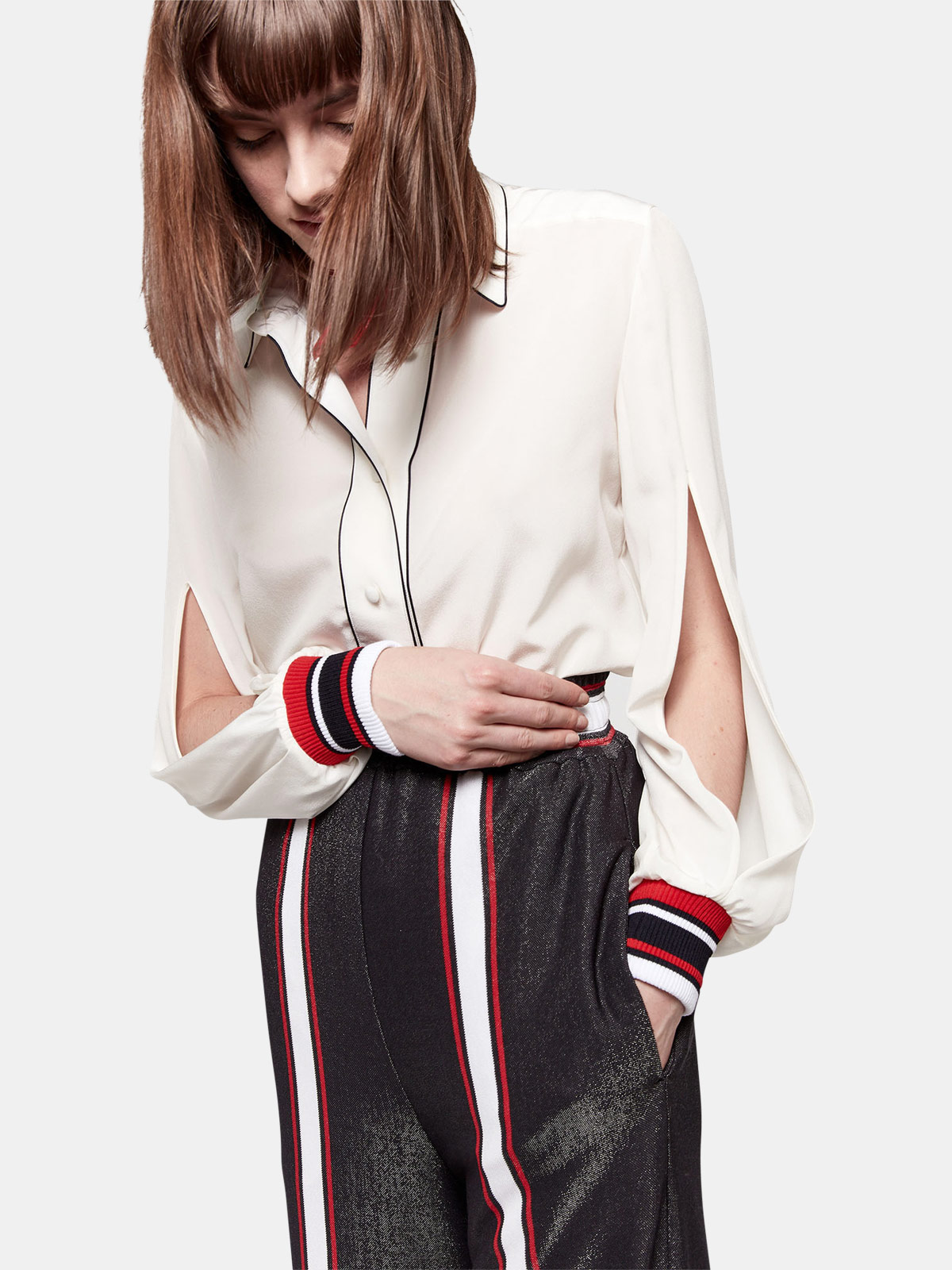 Golden Goose - Isako shirt in pure silk with contrasting details in
