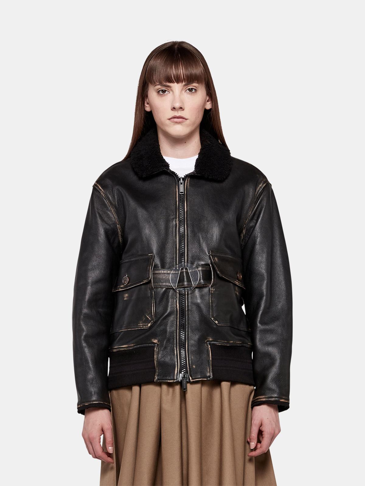 Golden Goose - Erika bomber jacket in vintage-look nappa leather in
