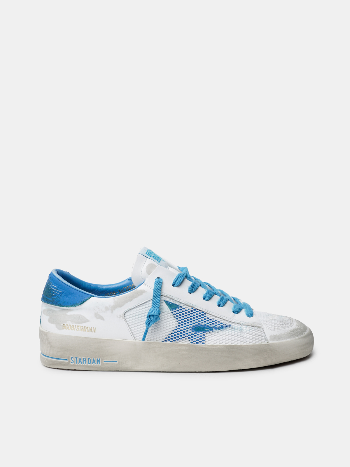 Golden Goose - White and light blue Stardan sneakers in