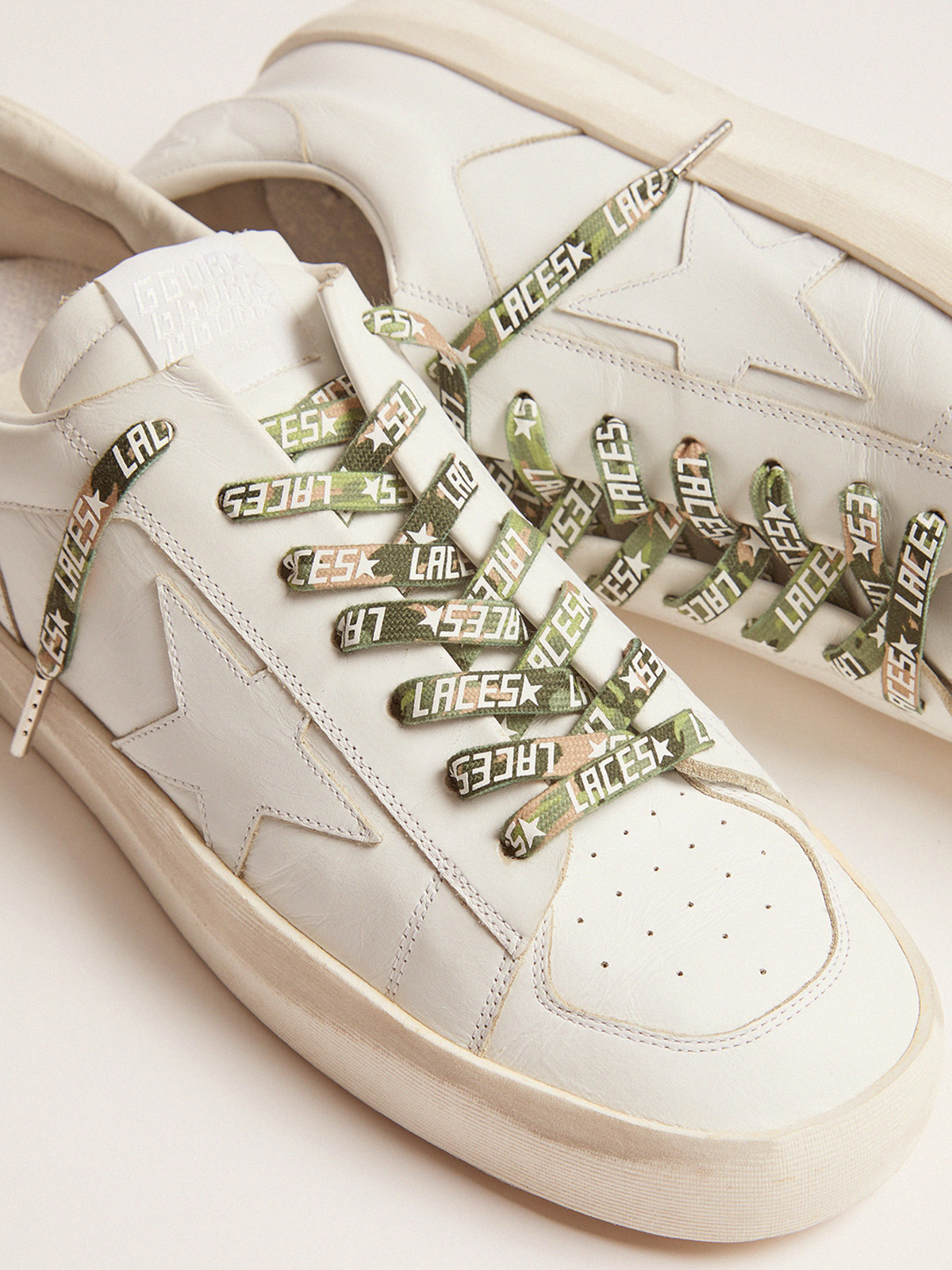 Golden Goose - Women's green camouflage laces with white laces print in