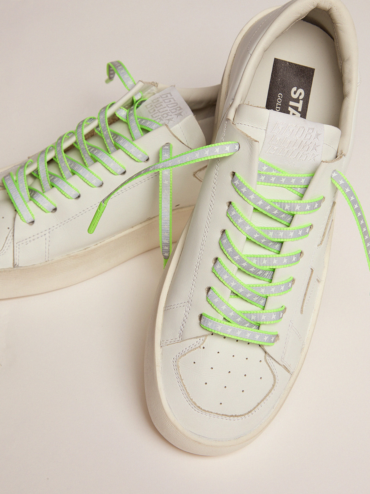 Golden Goose - Women's neon green reflective laces with stars in