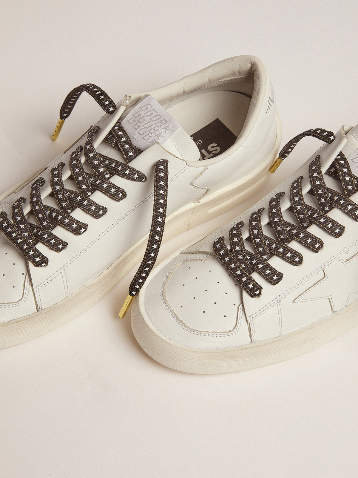 Golden Goose - Women's denim laces with white stars in