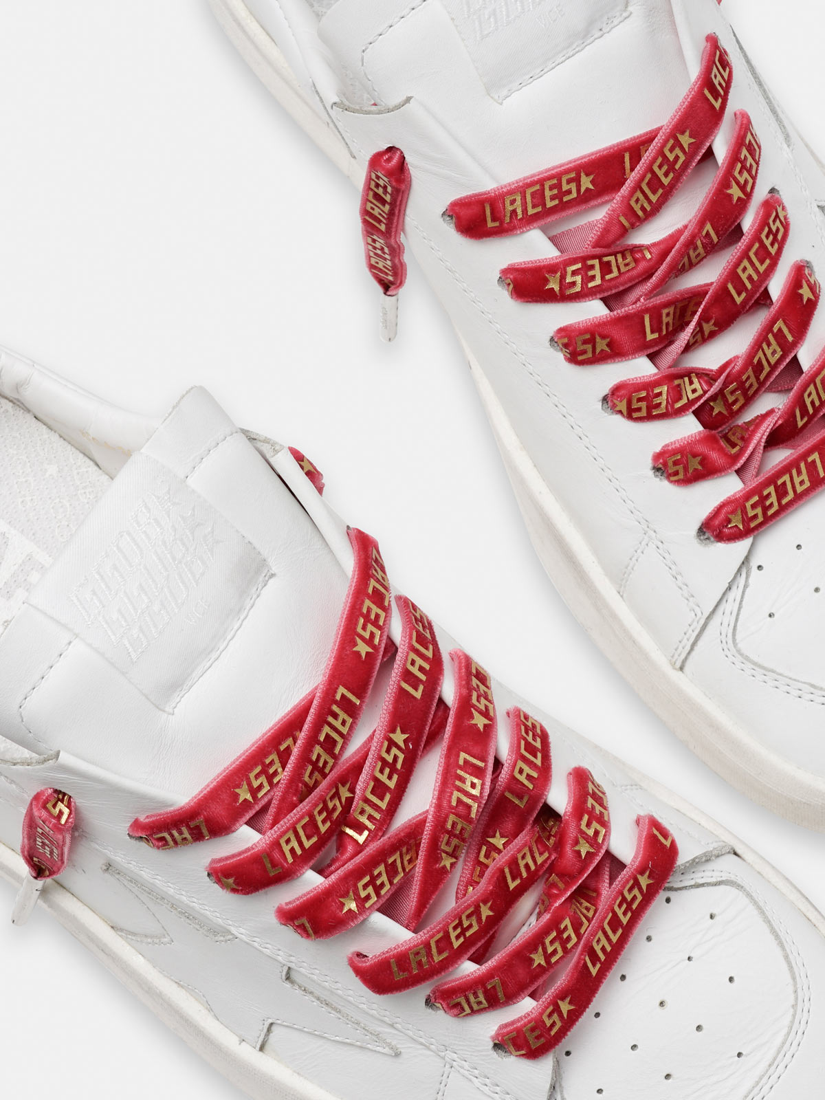 Golden Goose - Women's red velvet laces with gold laces print in
