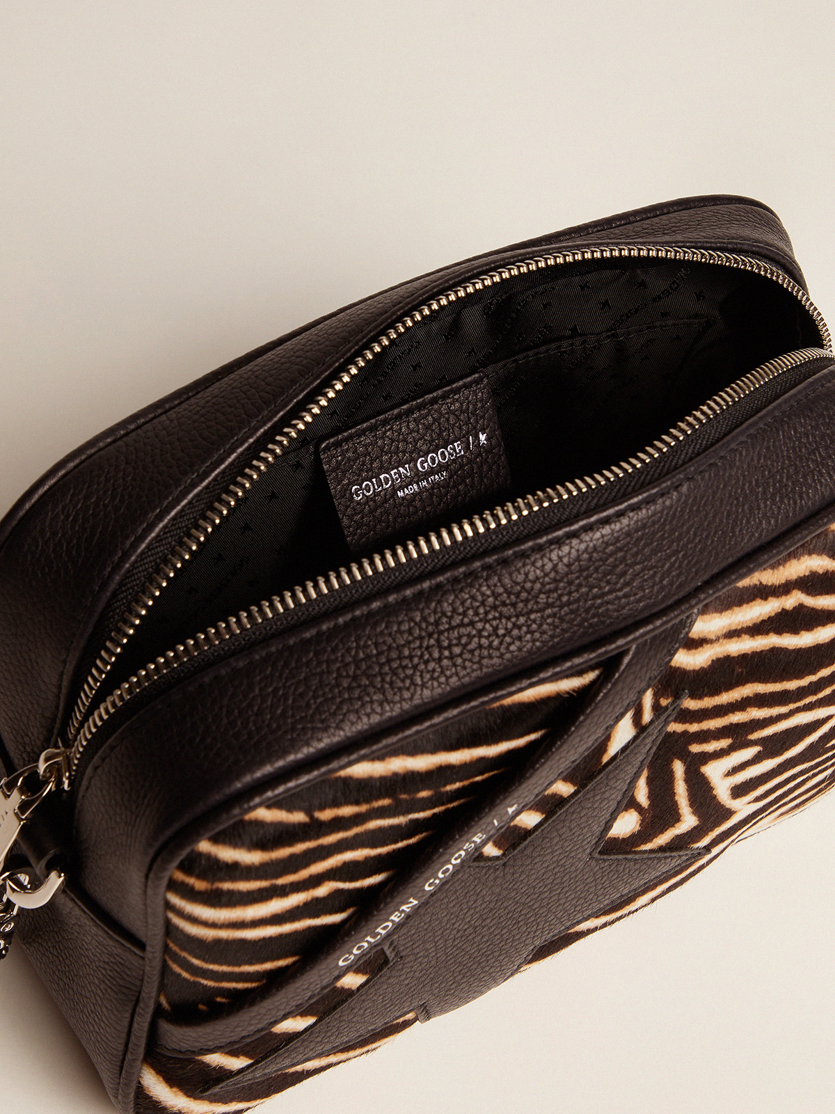 Golden Goose - Star Bag made of zebra print pony-effect leather in