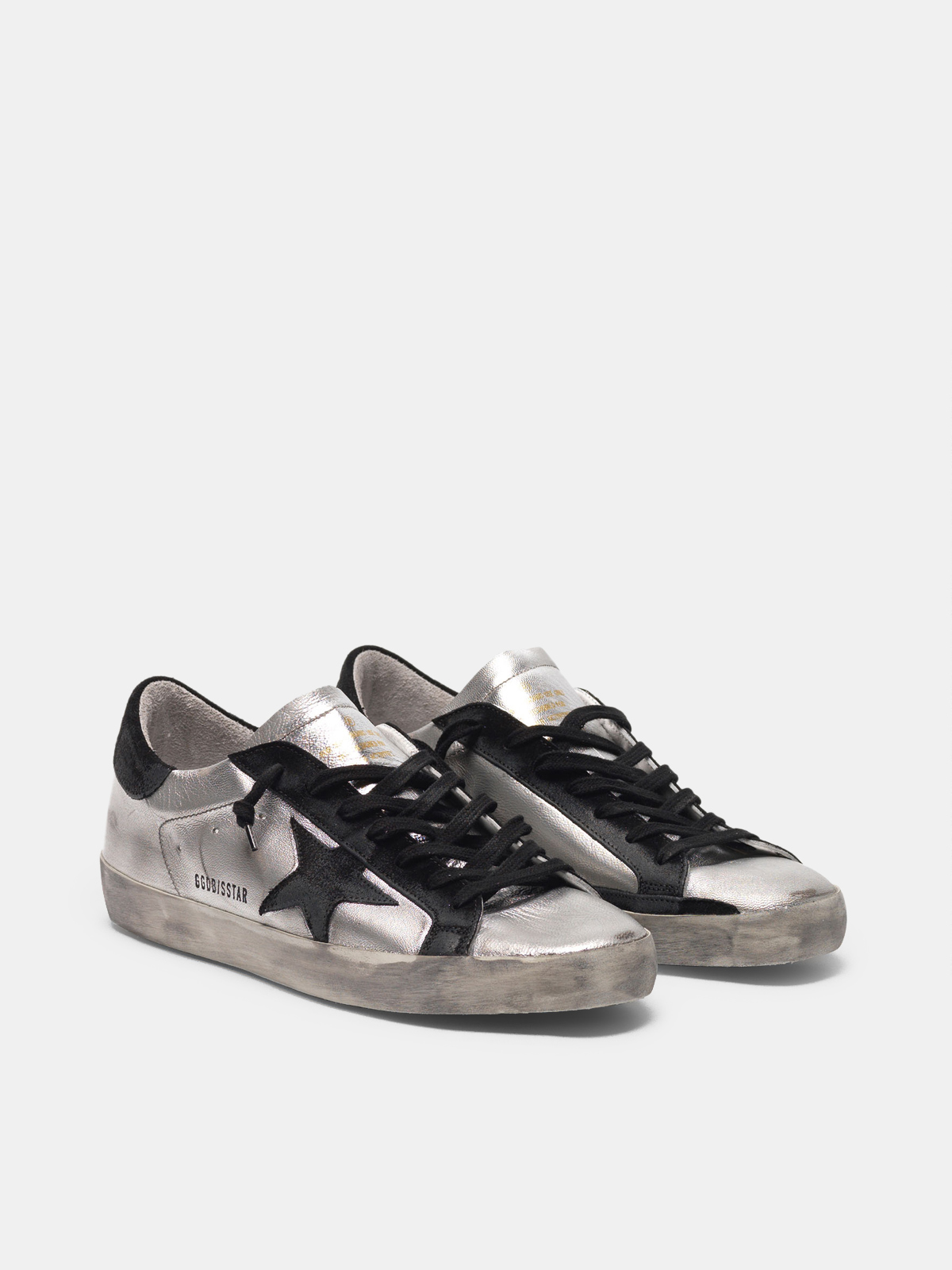 Golden Goose - Super-Star sneakers in silver leather with contrasting inserts in