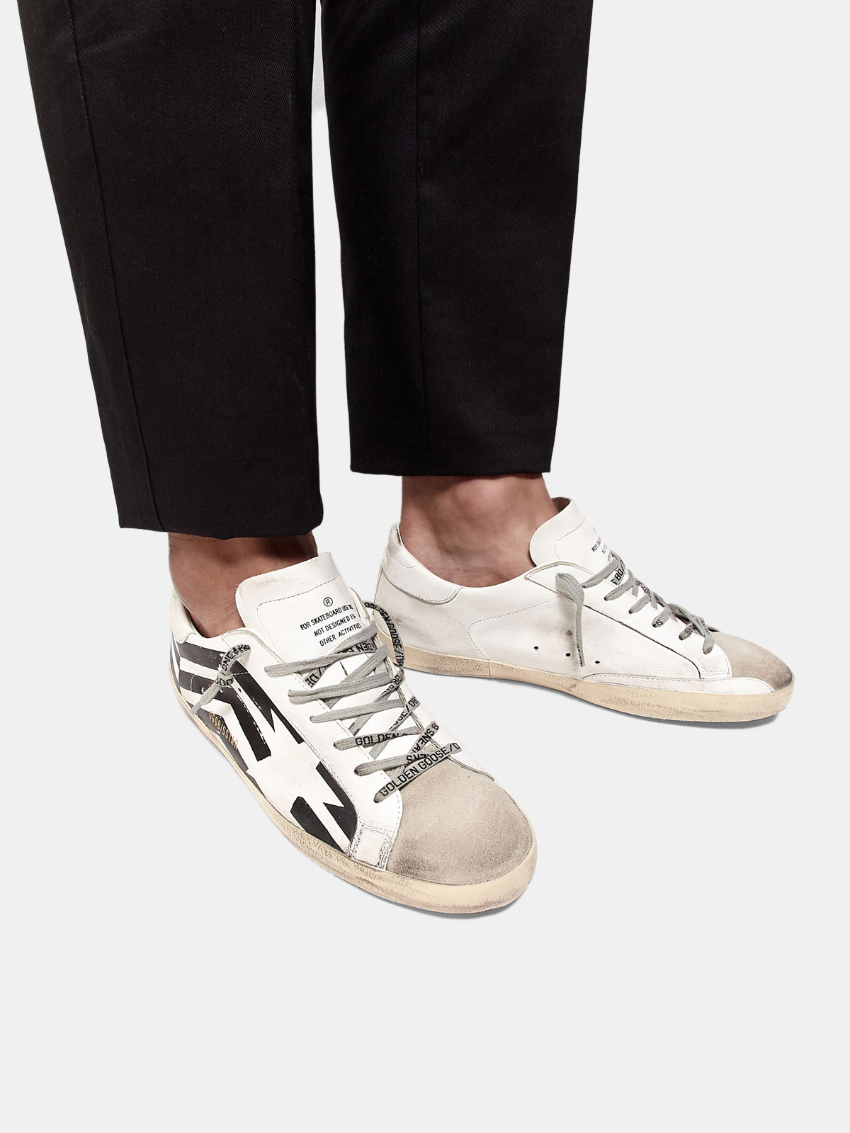 Golden Goose - Super-Star sneakers with GGDB flag print in