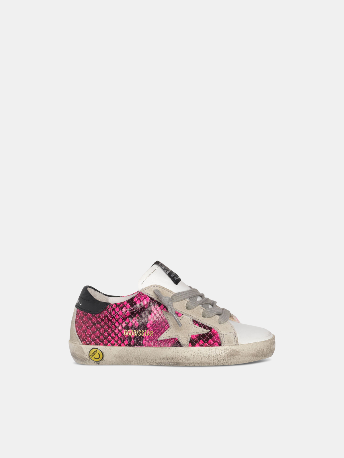 Golden Goose - White and fuchsia snakeskin-print Super-Star sneakers in