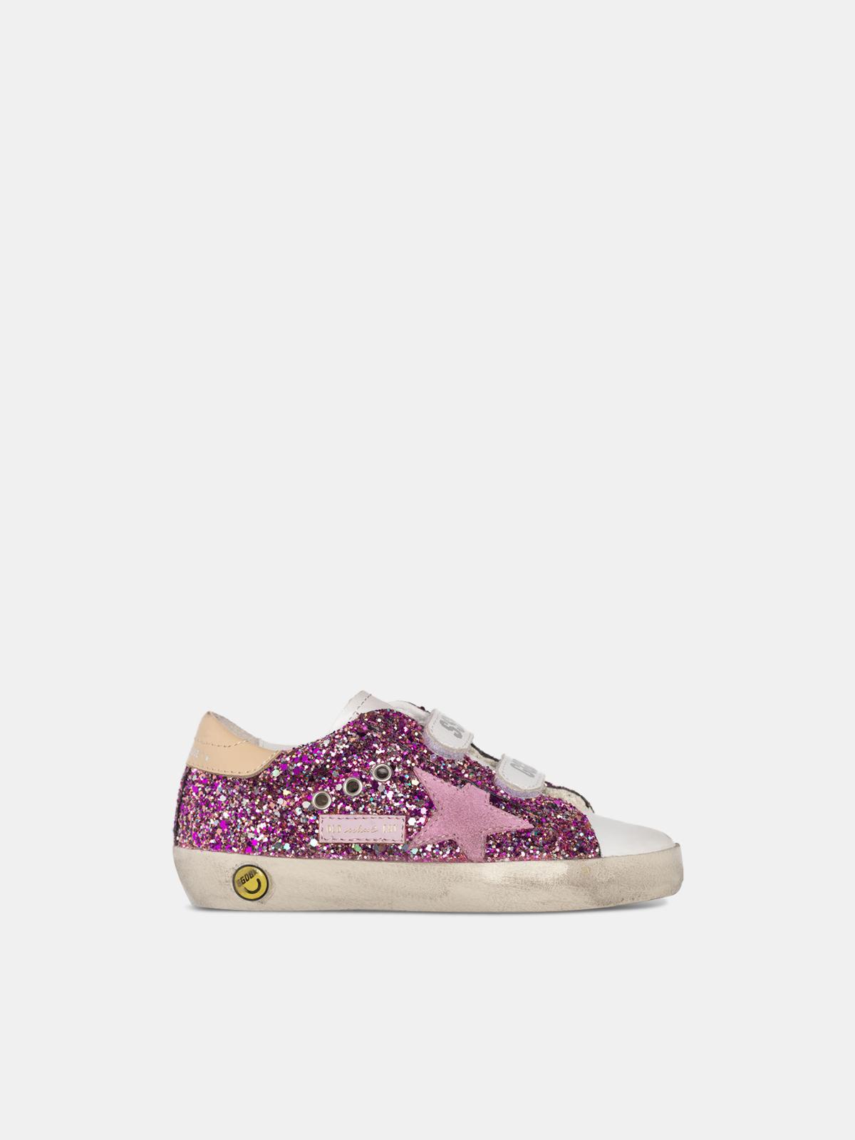Golden Goose - Sneakers Old School con glitter fuxia e stella rosa in