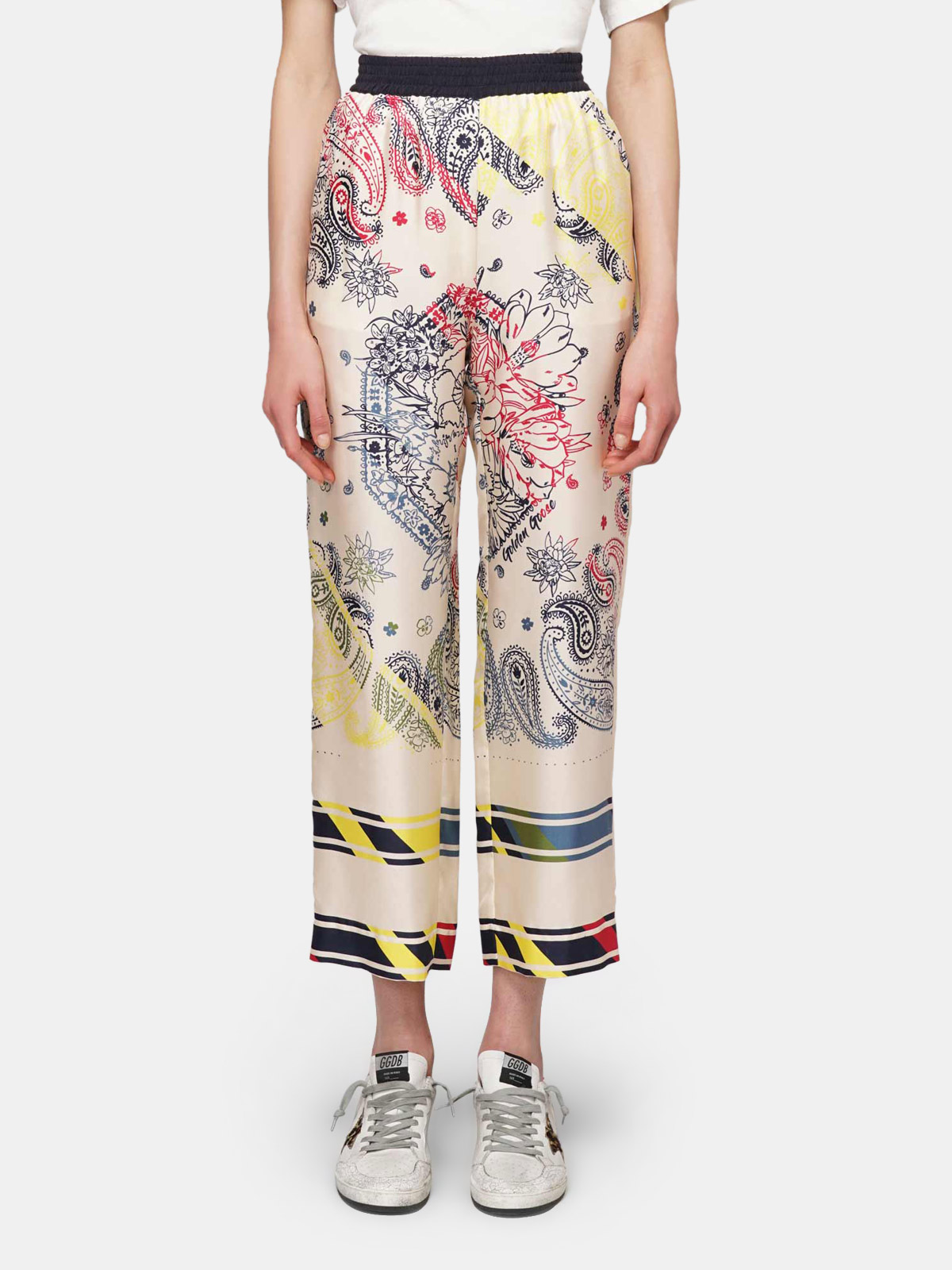 Golden Goose - Silk joggers with floral paisley motif in