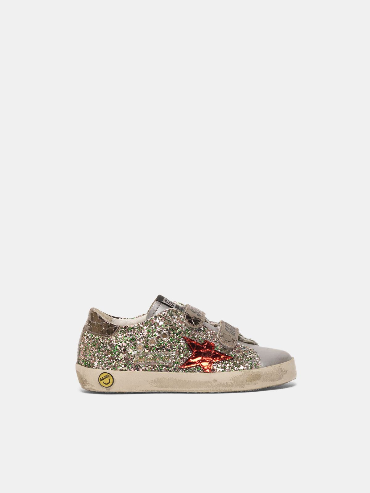 Golden Goose - Old School sneakers with glitter and red star in