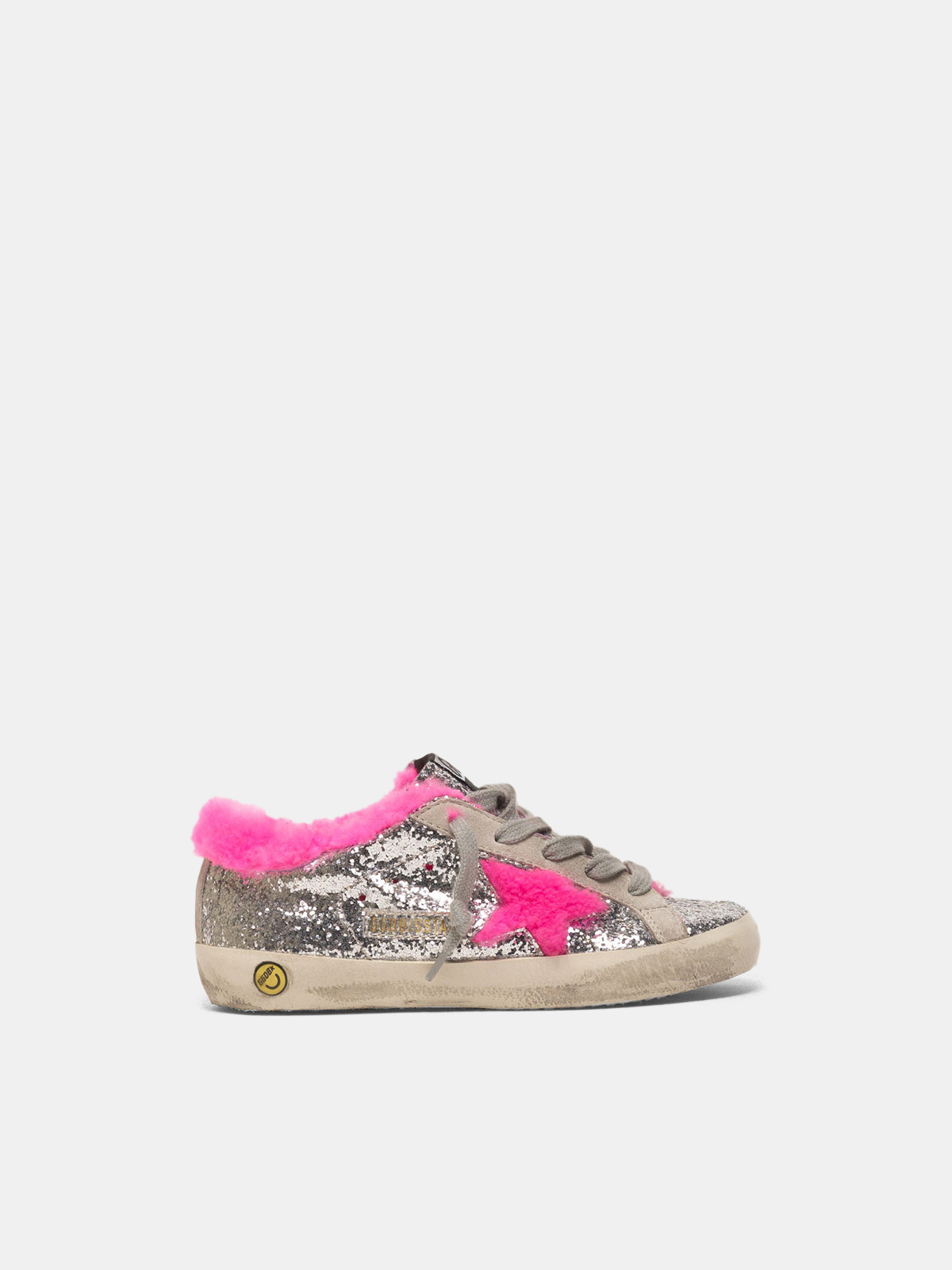 Golden Goose - Super-Star sneakers in glitter with fuchsia shearling interior in
