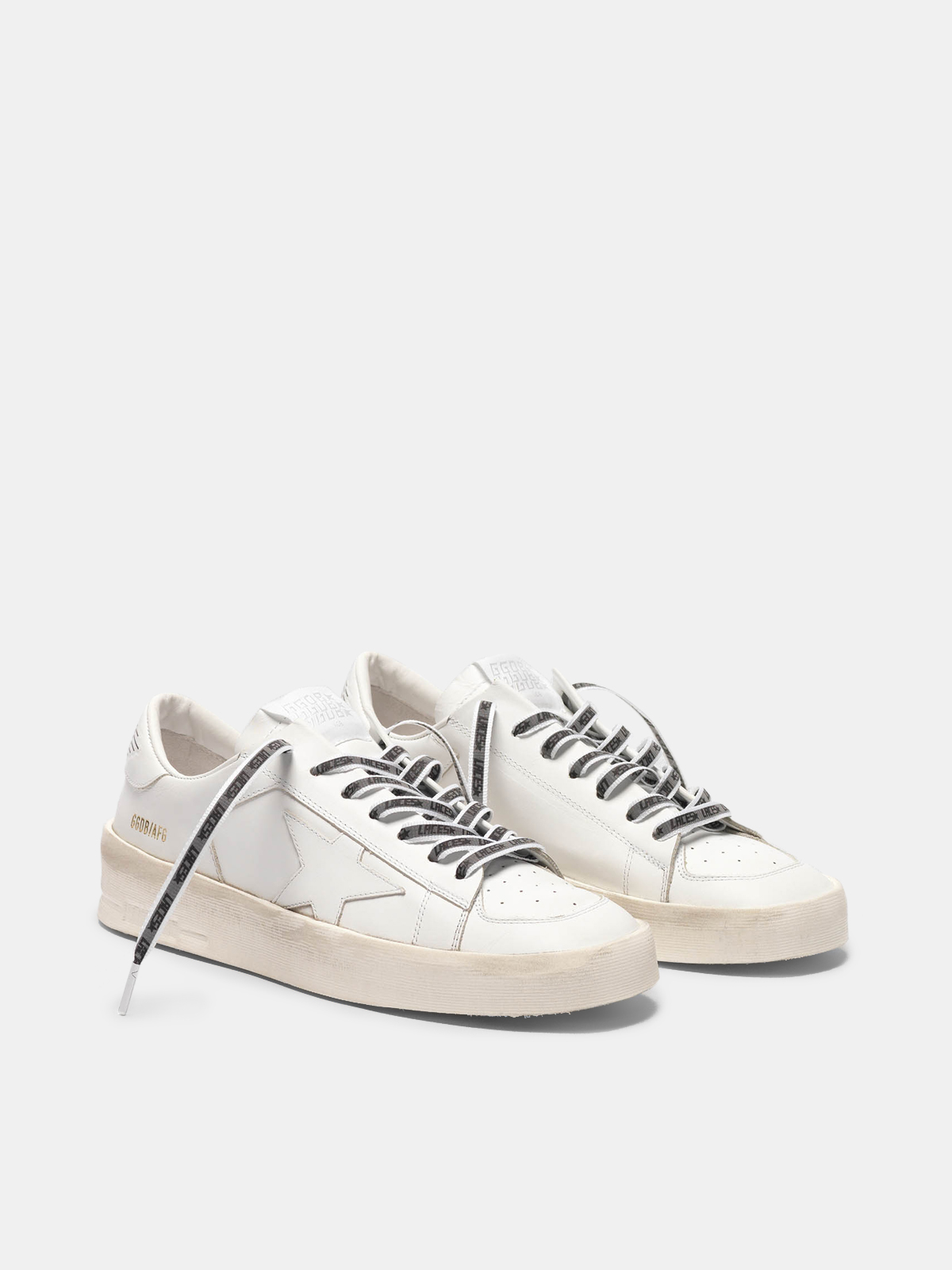 "Golden Goose - Lacci in Gros Grain con banda reflective e stampa ""Laces"" in"
