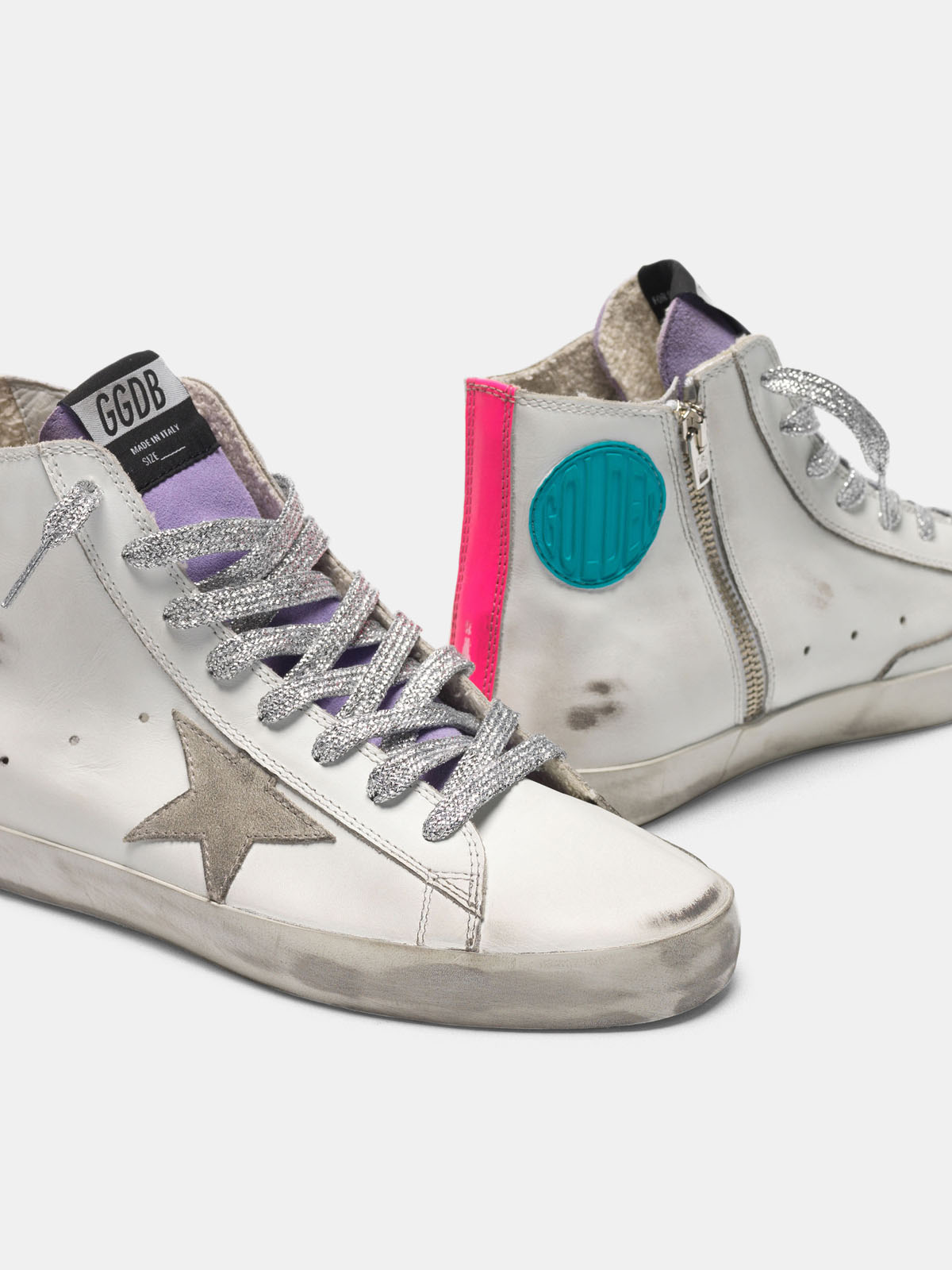 Golden Goose - White Francy sneakers in leather with fuchsia bands   in