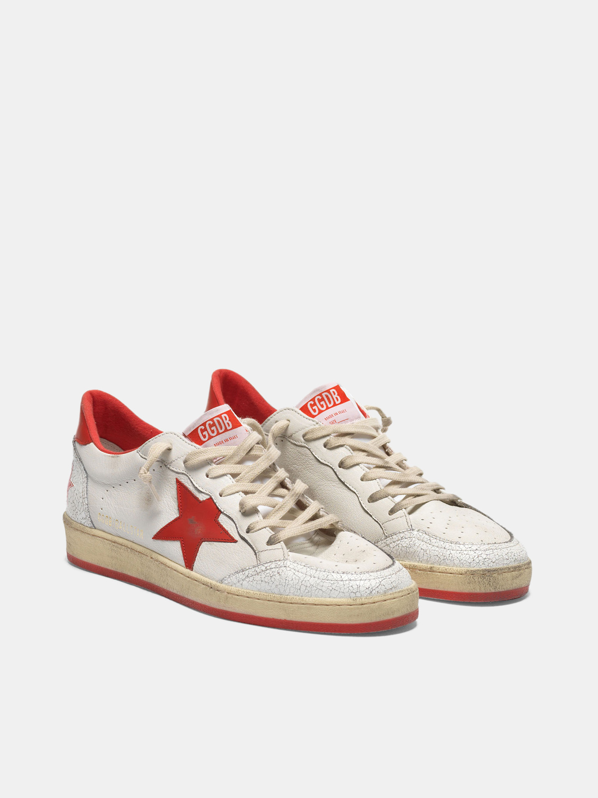 Golden Goose - White Ball Star sneakers in leather with red star and heel tab in