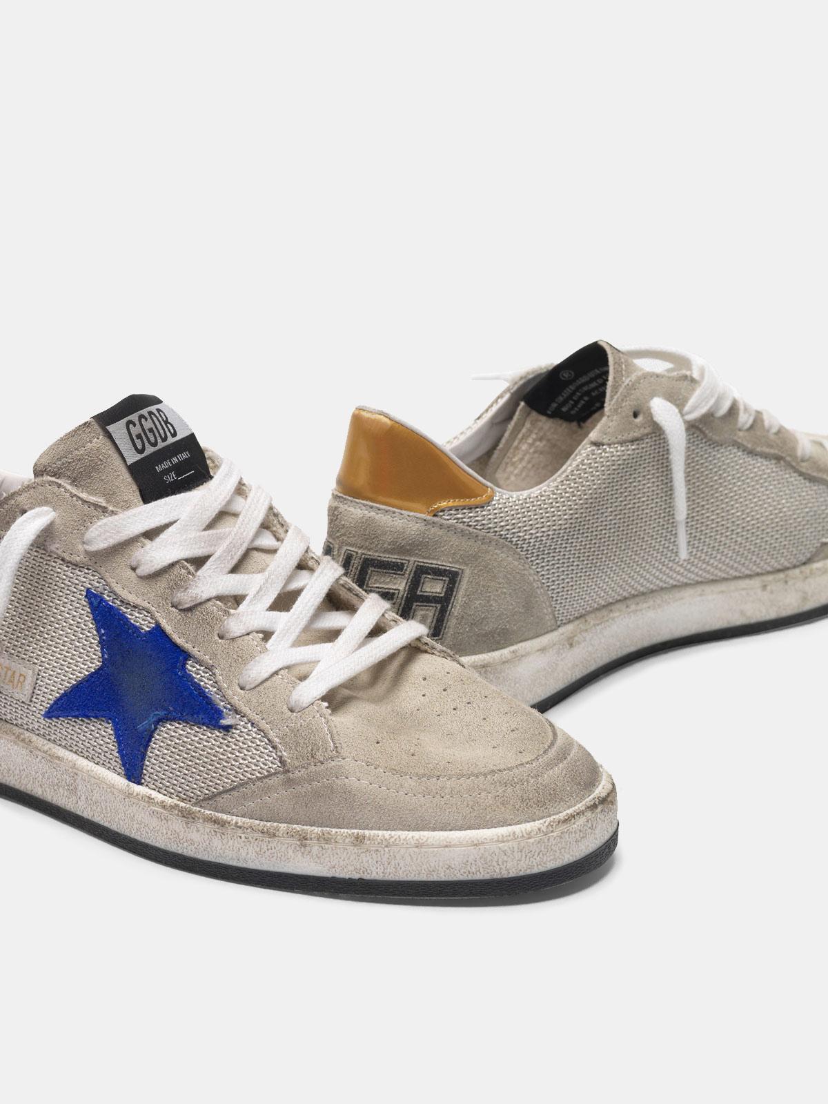 Golden Goose - Sneakers Ball Star grigie in suede con inserti in mesh in