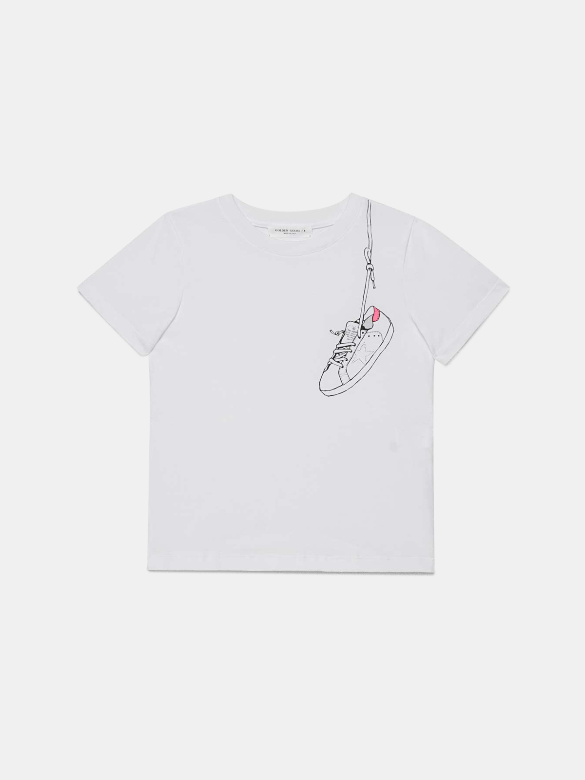 Golden Goose - T-shirt Venice bianca con stampa sneakers fucsia in