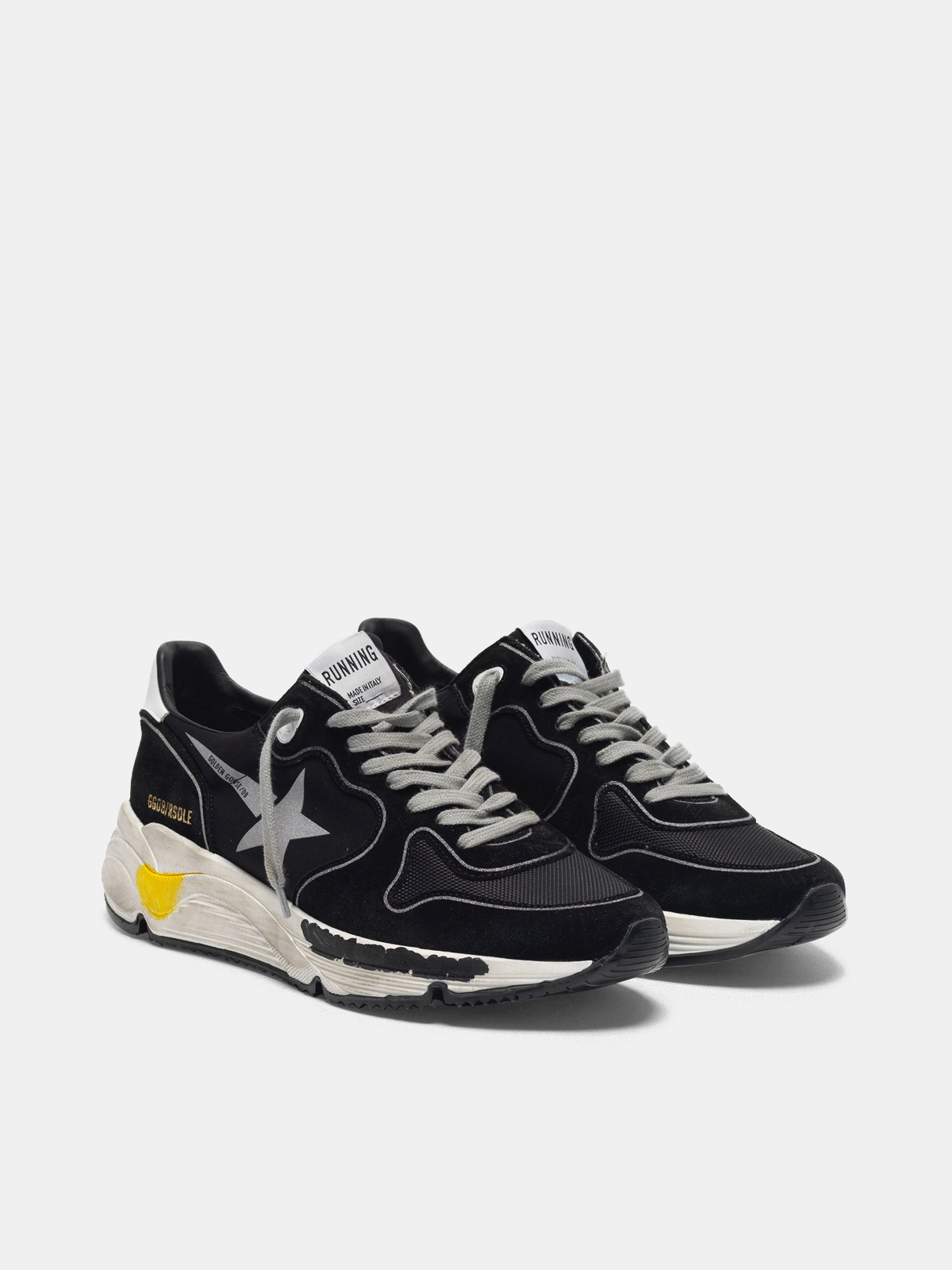 Golden Goose - Black Running Sole sneakers with silver star in
