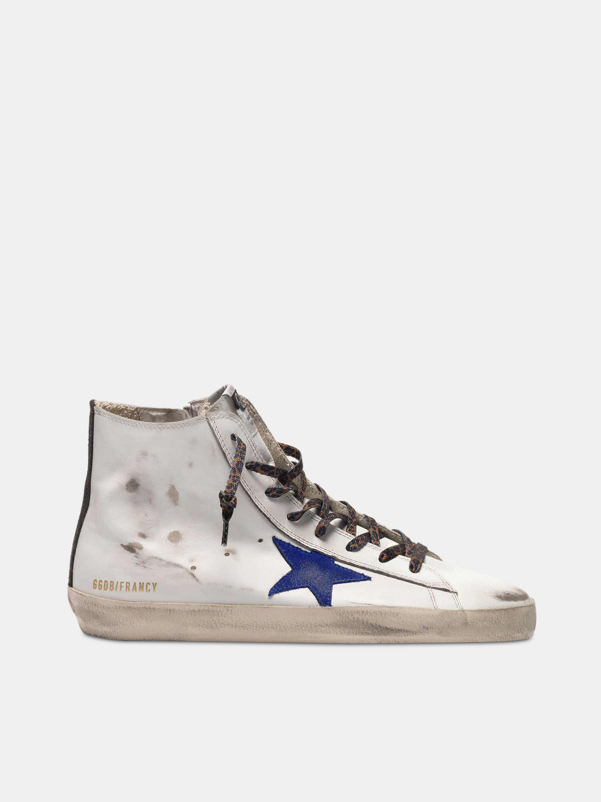 Golden Goose - White Francy sneakers with blue star and leopard-print laces in