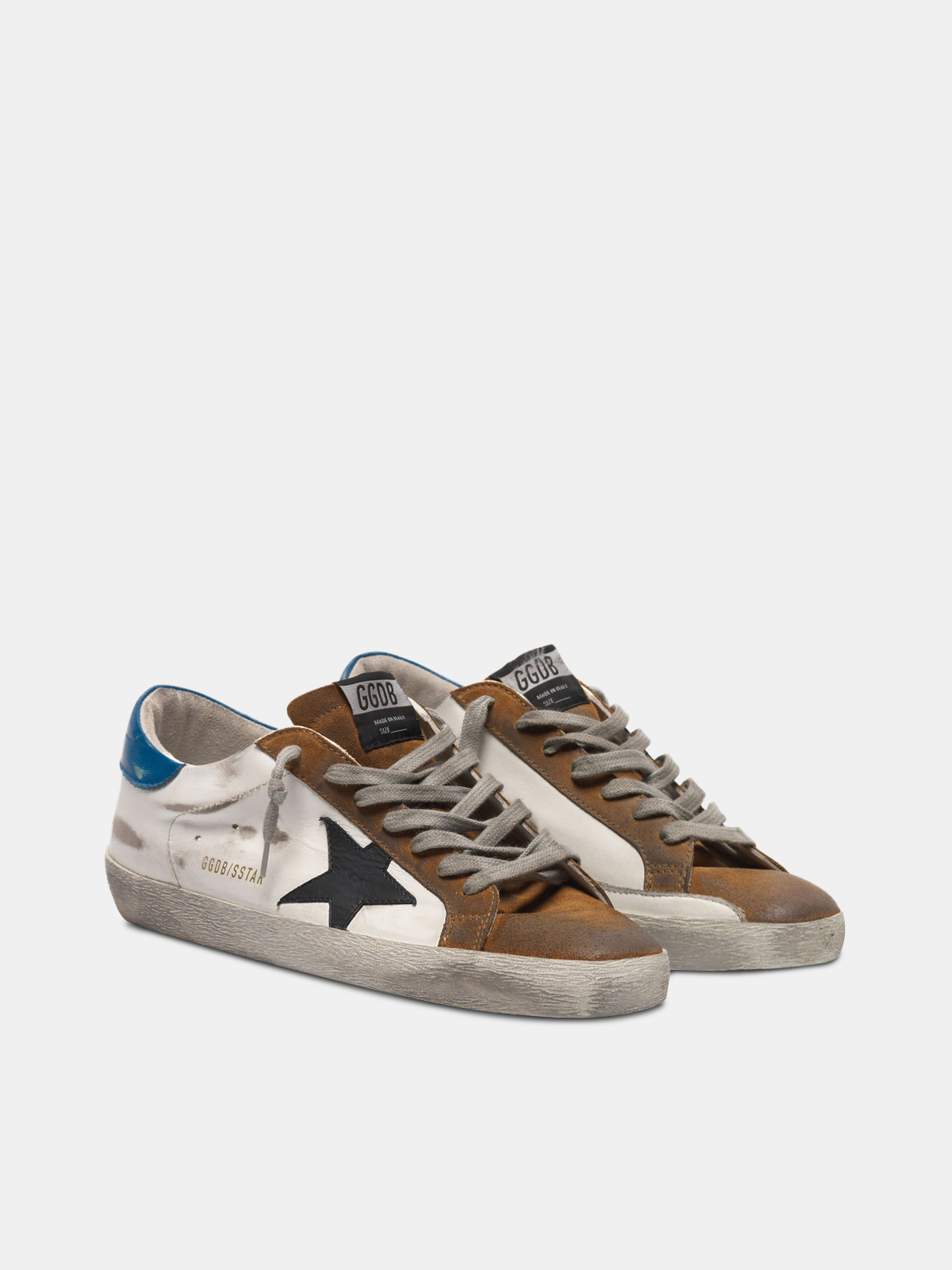 Golden Goose - Two-tone Superstar sneakers in leather and copper suede in