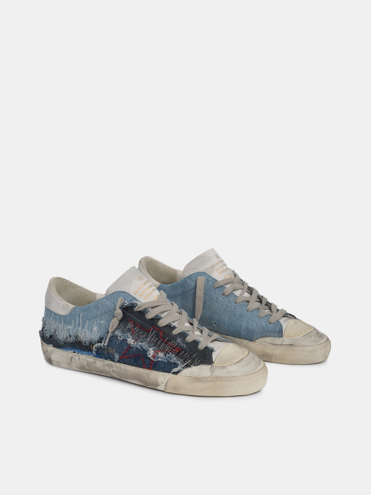 Golden Goose - Super-Star sneakers with denim inserts and stylised star in