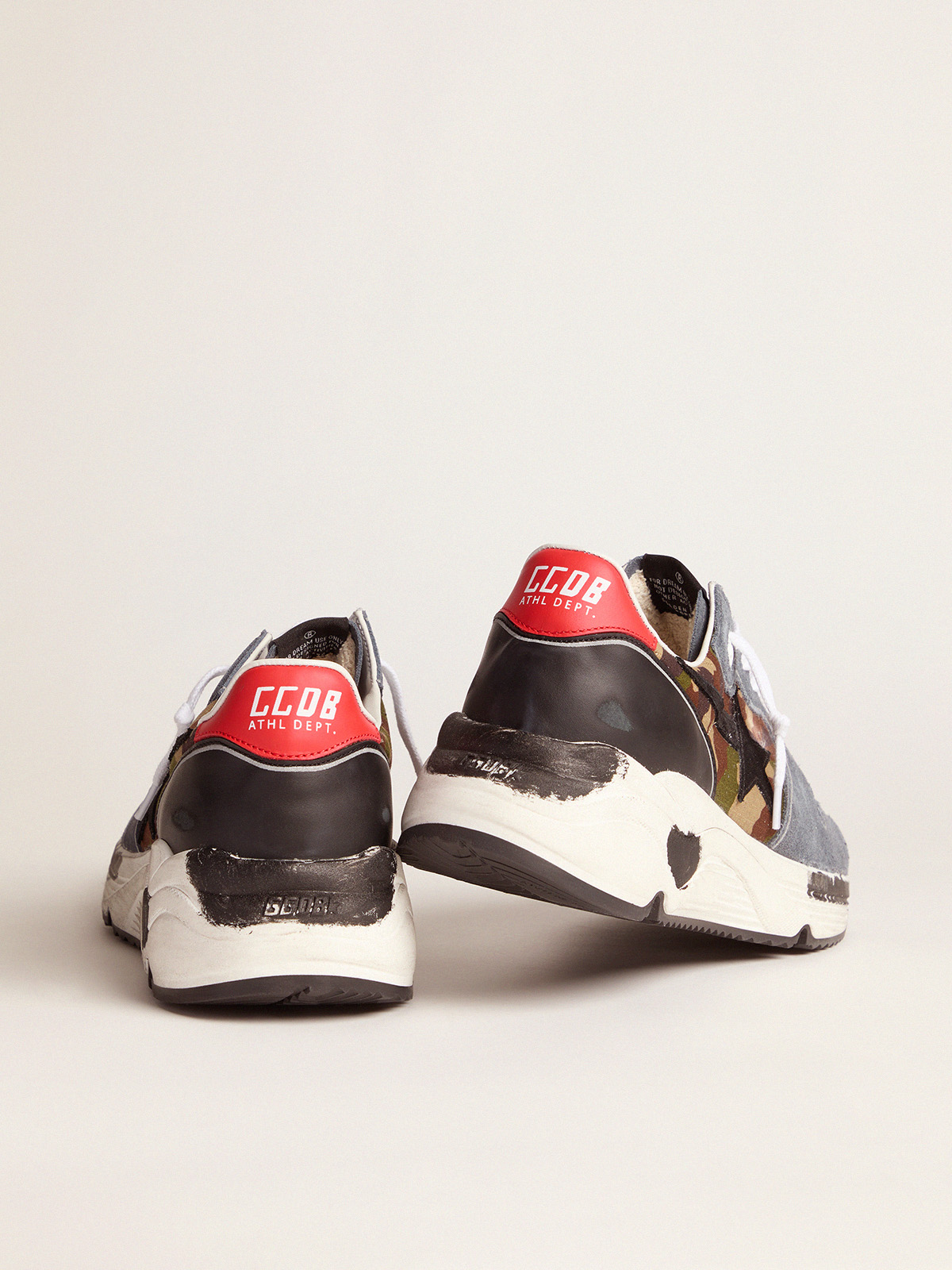 Golden Goose - Camouflage Running Sole sneakers with textured nylon insert and red heel tab   in