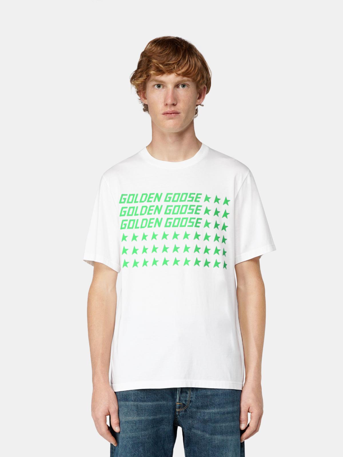 Golden Goose - T-shirt Adamo con stampa flag verde fluo in