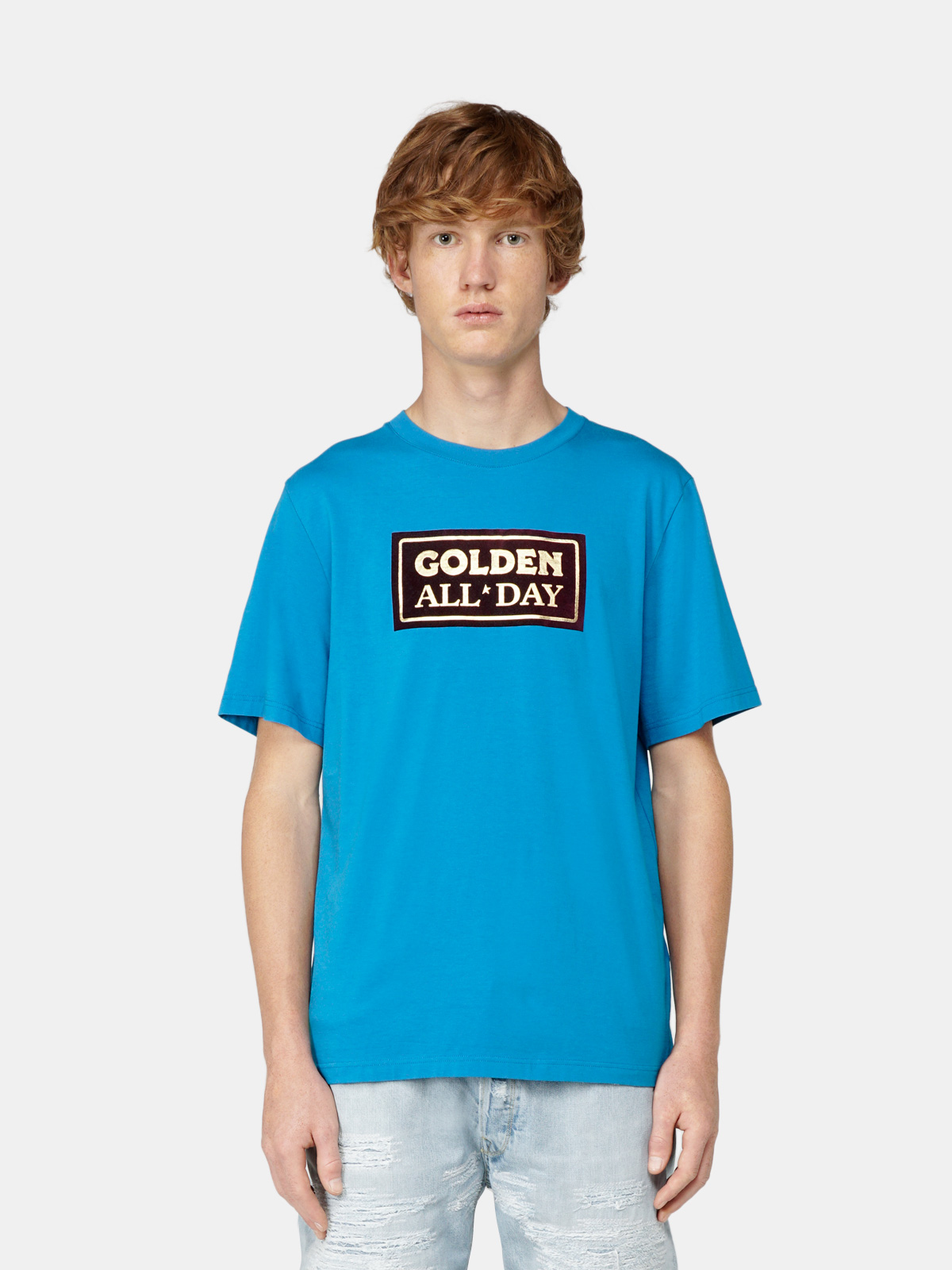 Golden Goose - Blue Adamo T-shirt with print on the front in