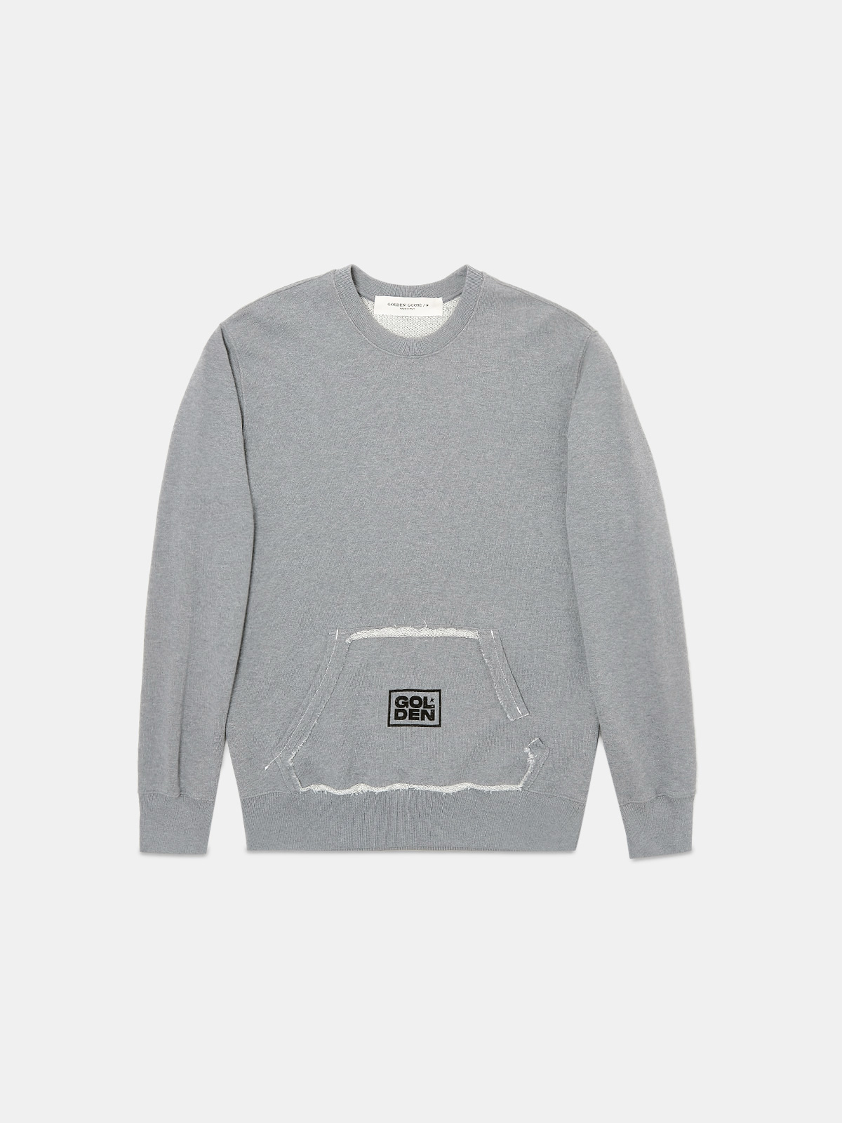 Golden Goose - Grey Archibald sweatshirt with kangaroo pocket on the front in