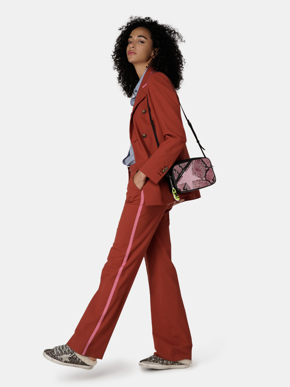 Golden Goose - Star Bag made of pink snake-print leather in
