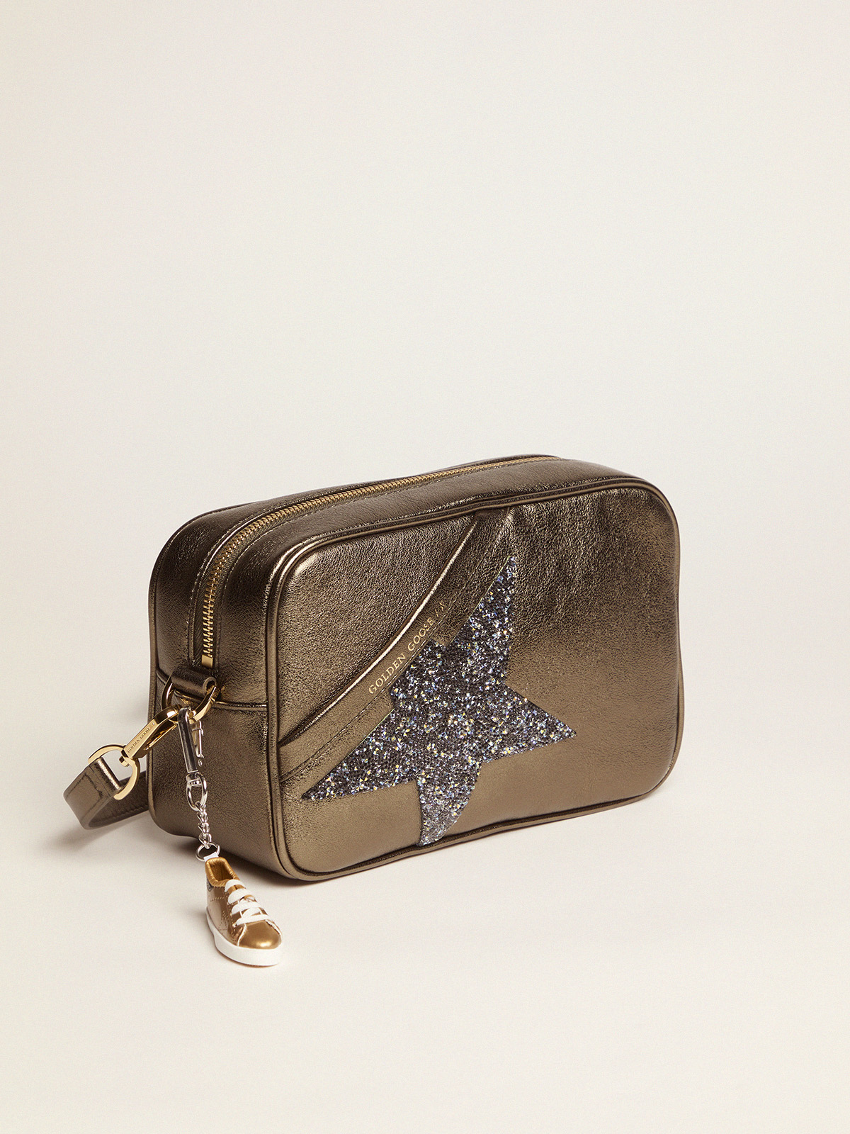 Golden Goose - Star Bag made of green laminated leather with Swarovski star in