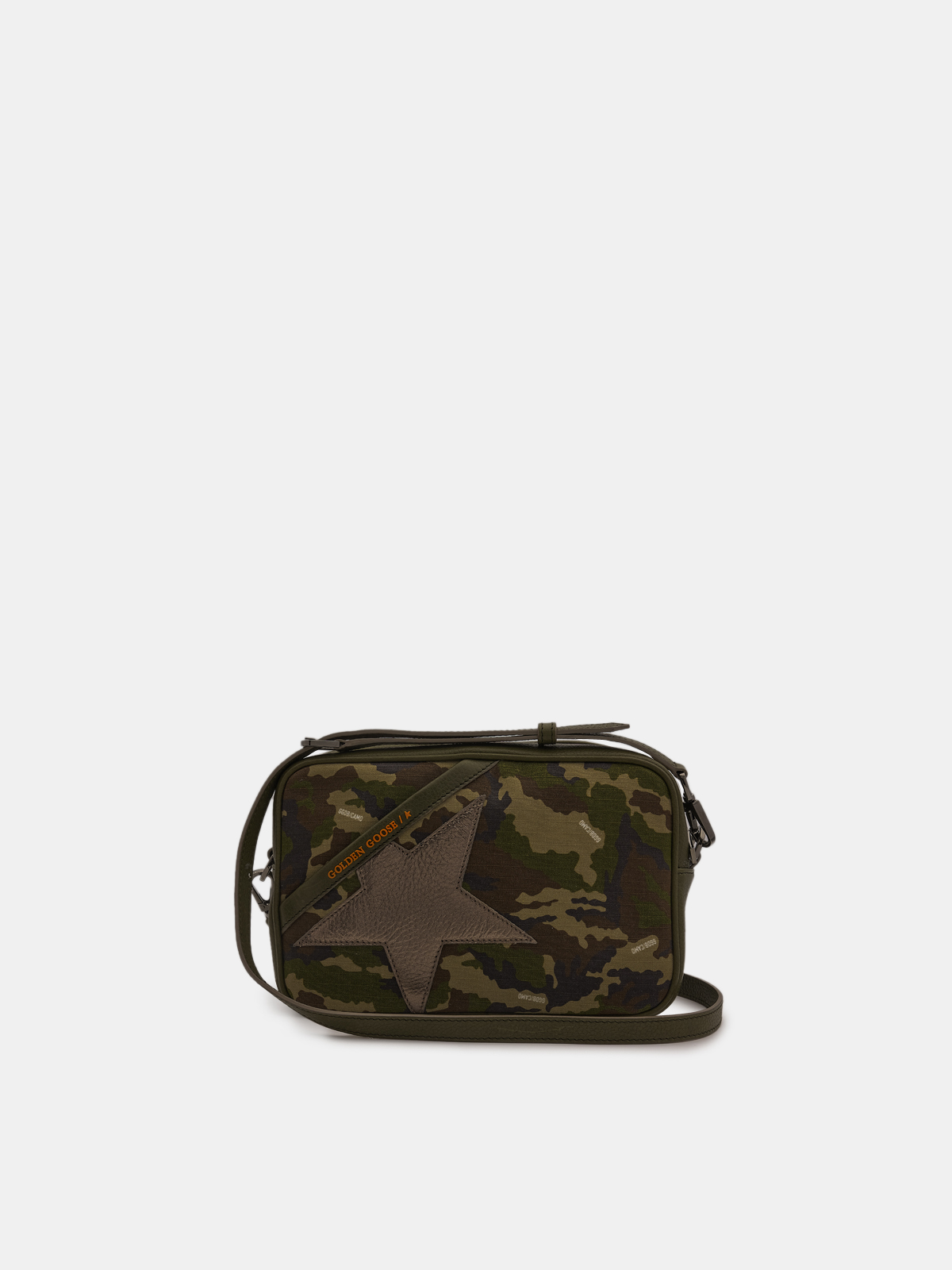 Golden Goose - Star Bag made of camouflage canvas with laminated star in