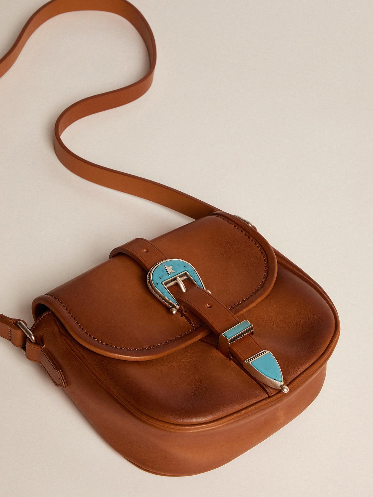 Golden Goose - Borsa Rodeo Bag small in pelle cuoio chiaro con fibbia azzurra   in