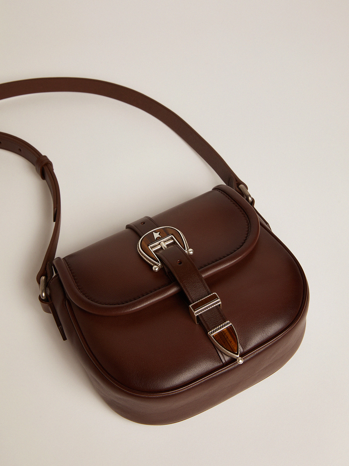 Golden Goose - Small Rodeo Bag in dark tan leather   in