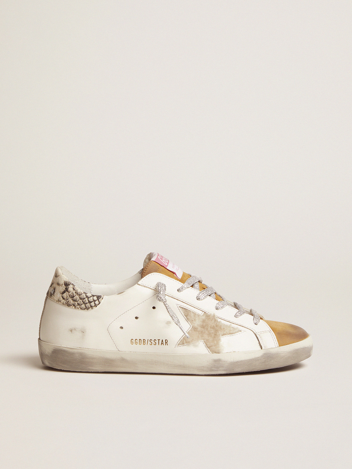 Golden Goose - Super-Star sneakers made from shearling with snake-print heel tab in