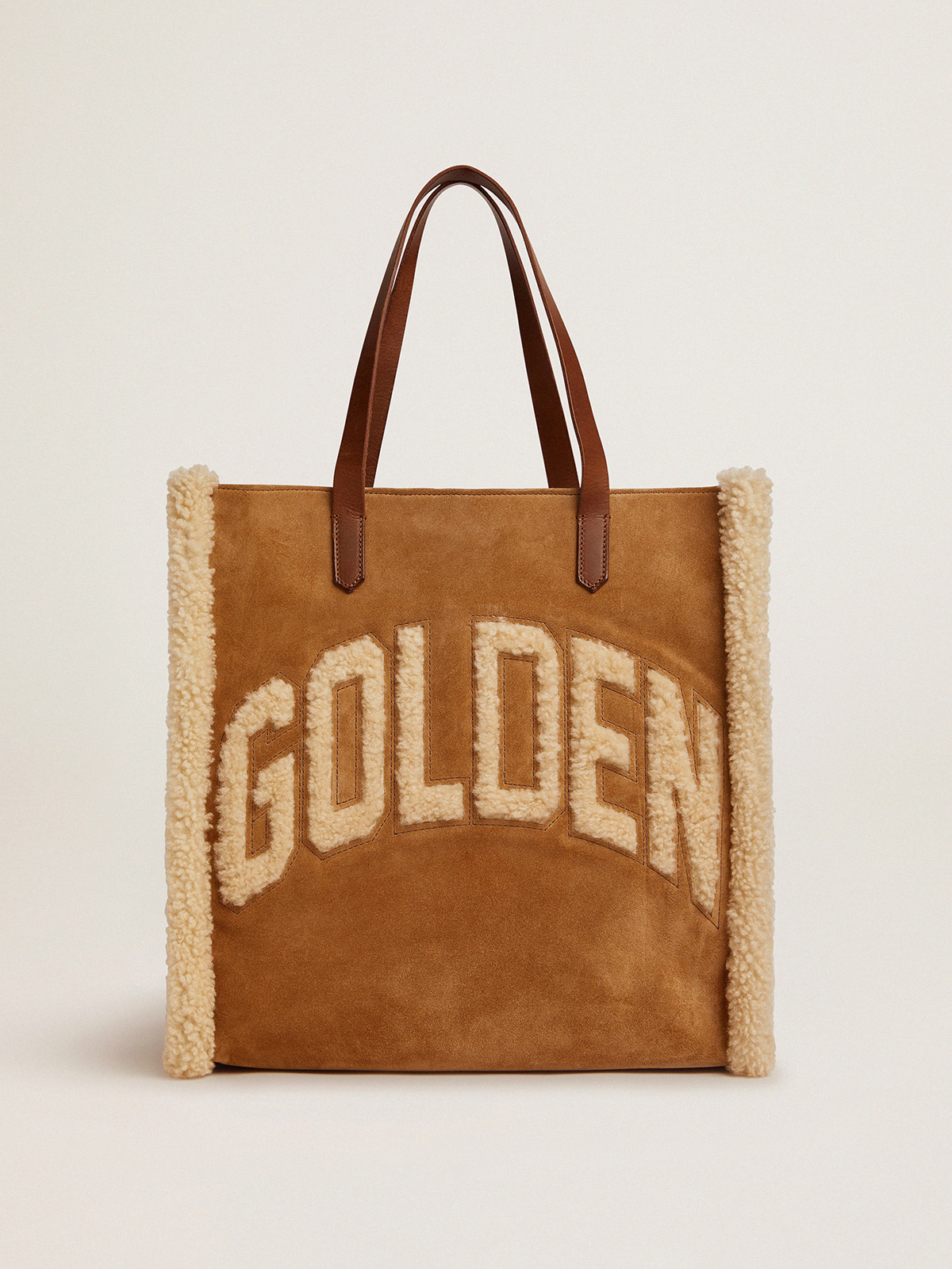 Golden Goose - North-South California Bag in suede leather with shearling in