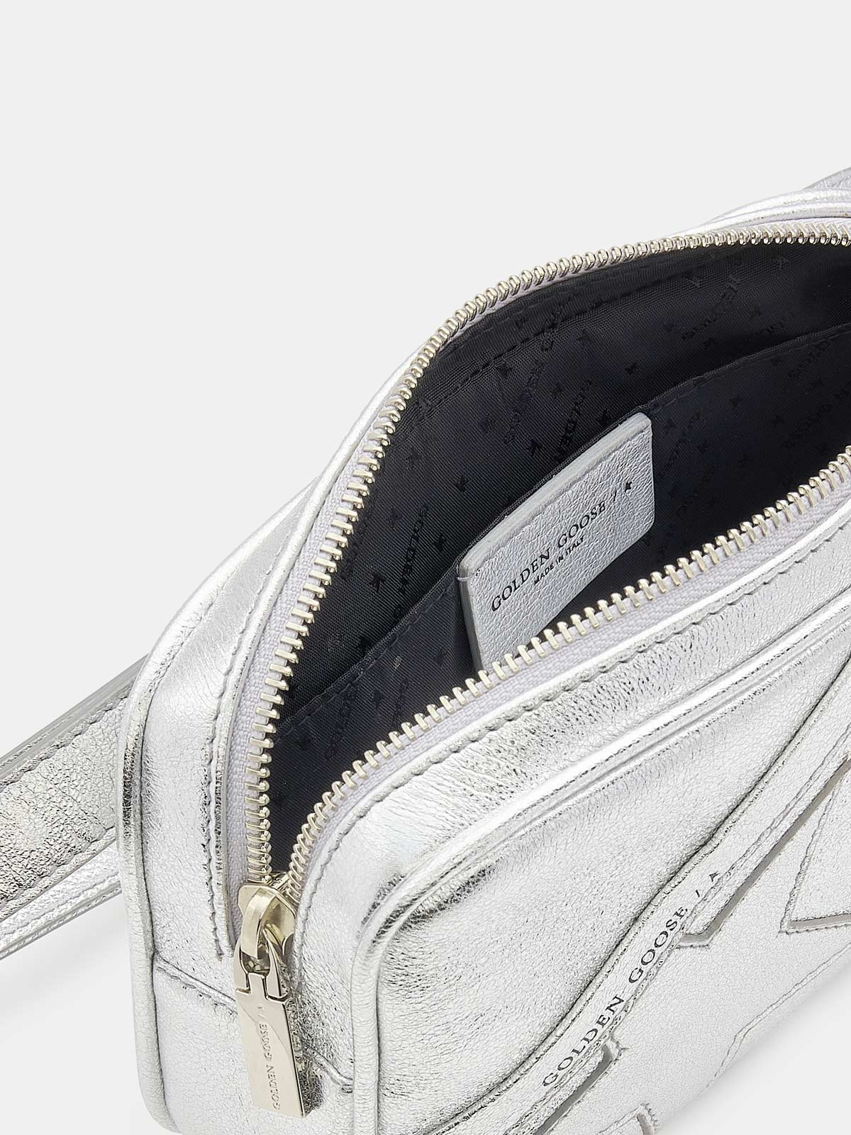 Golden Goose - Star Belt Bag made of silver laminated leather in