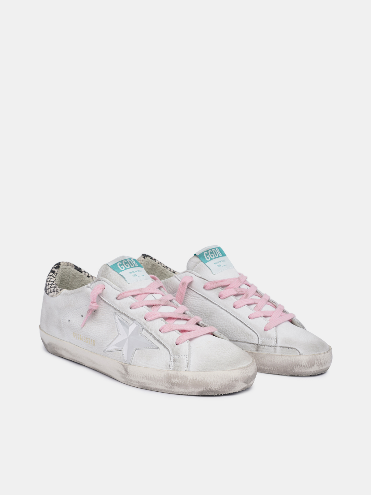 Golden Goose - White Super-Star sneakers with snake-print heel tab in