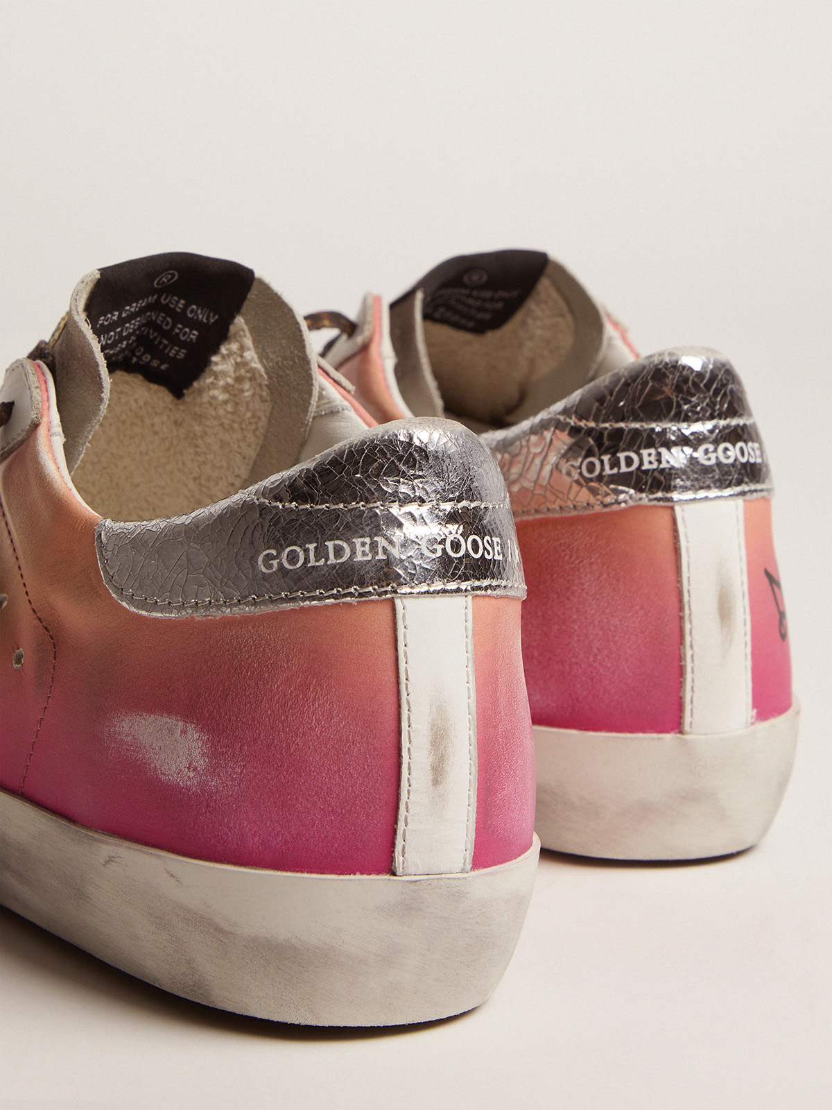 Golden Goose - Shaded pink Super-Star sneakers with metallic silver crackle leather heel tab in