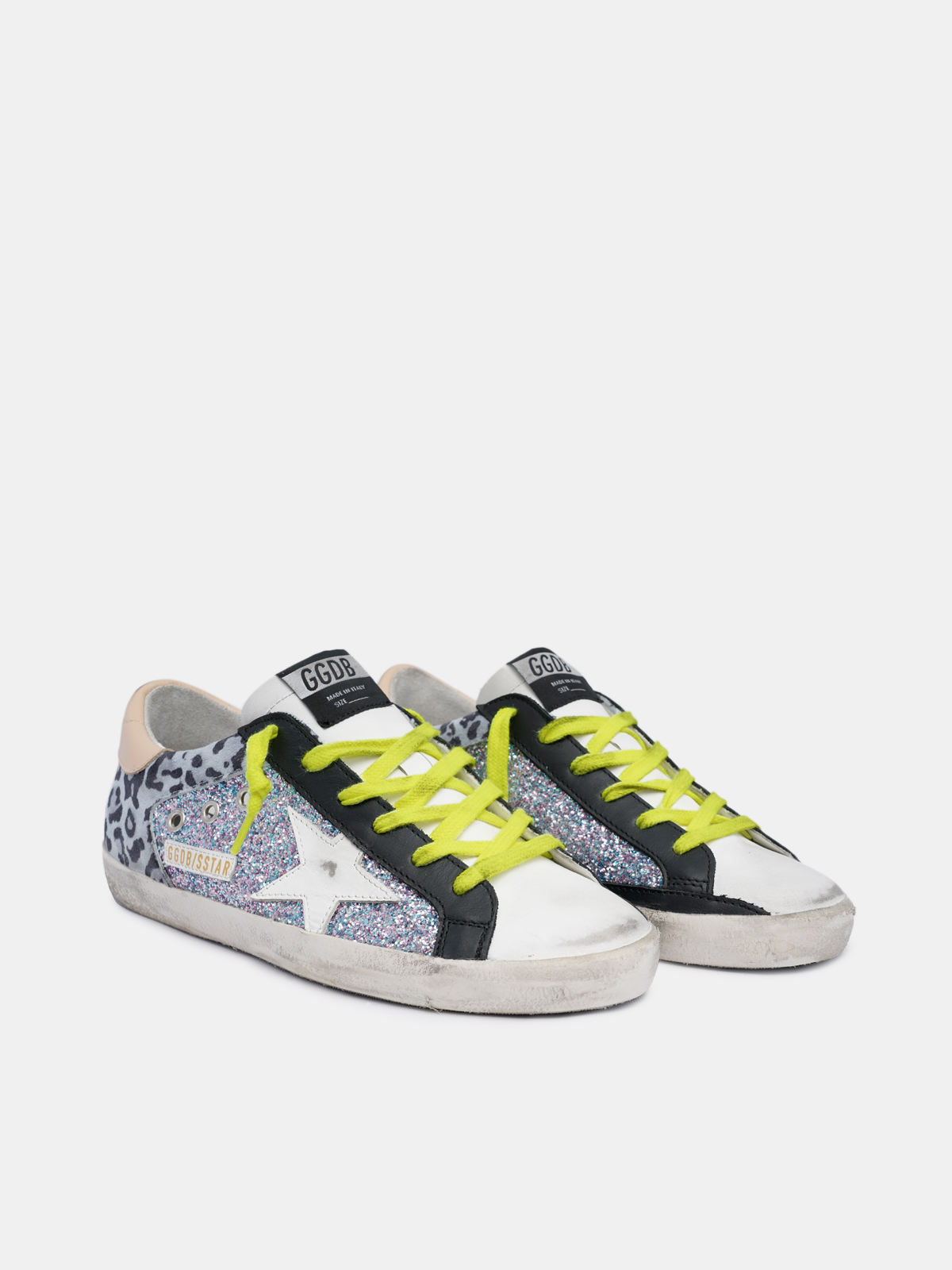 Golden Goose - Sneakers Super-Star leopardate e glitter in