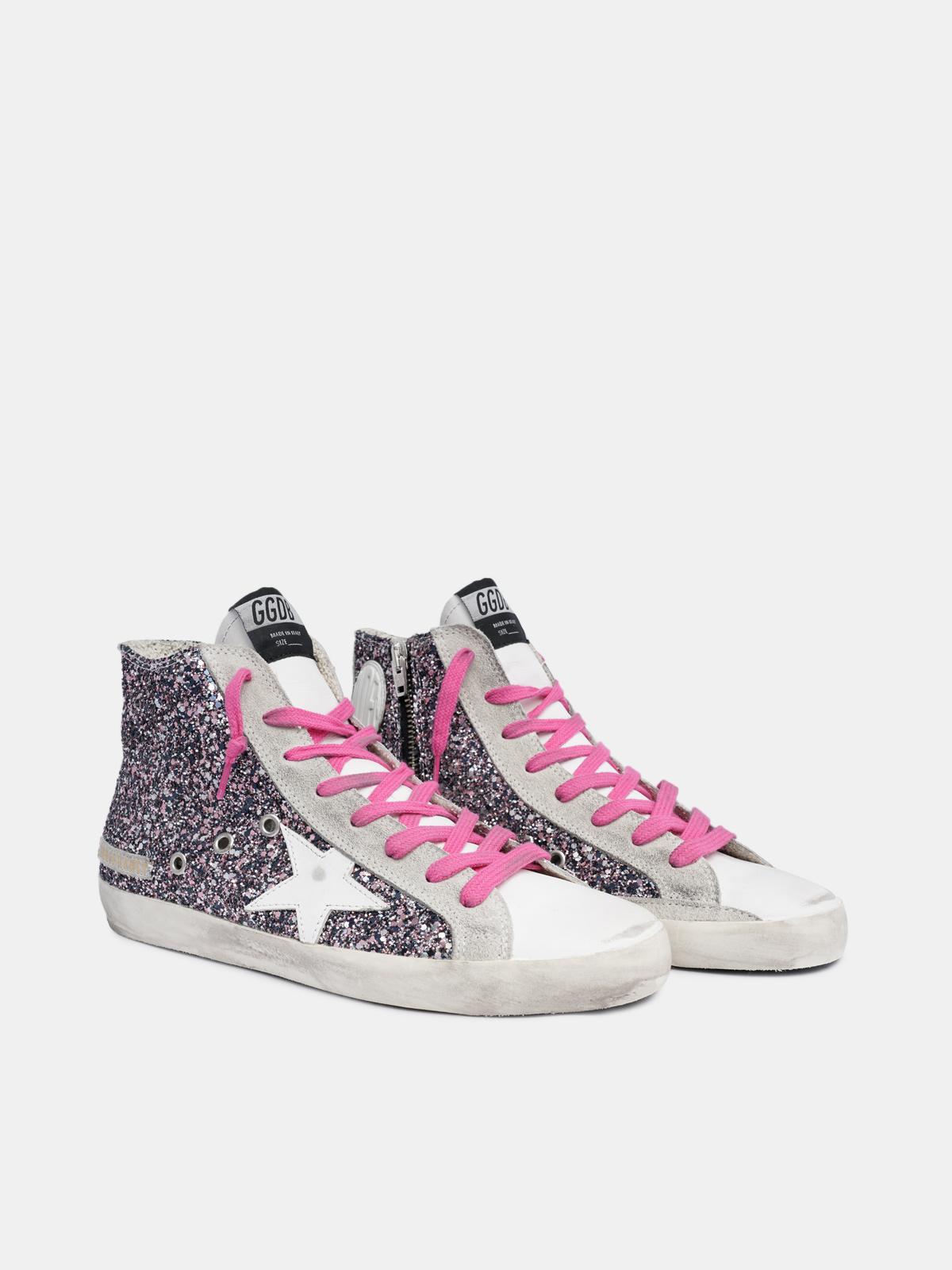 Golden Goose - Sneakers Francy con glitter multicolor e lacci fucsia in