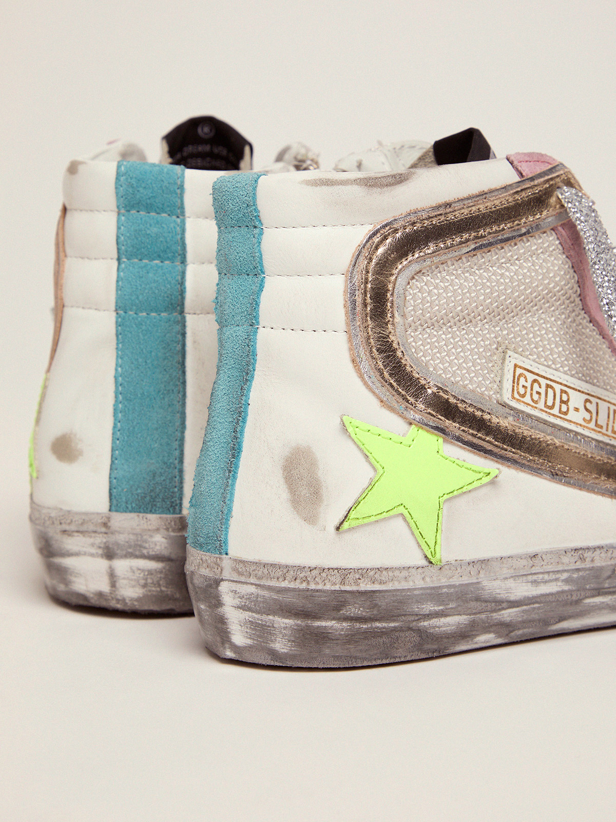 Golden Goose - Slide sneakers with white and pink upper in