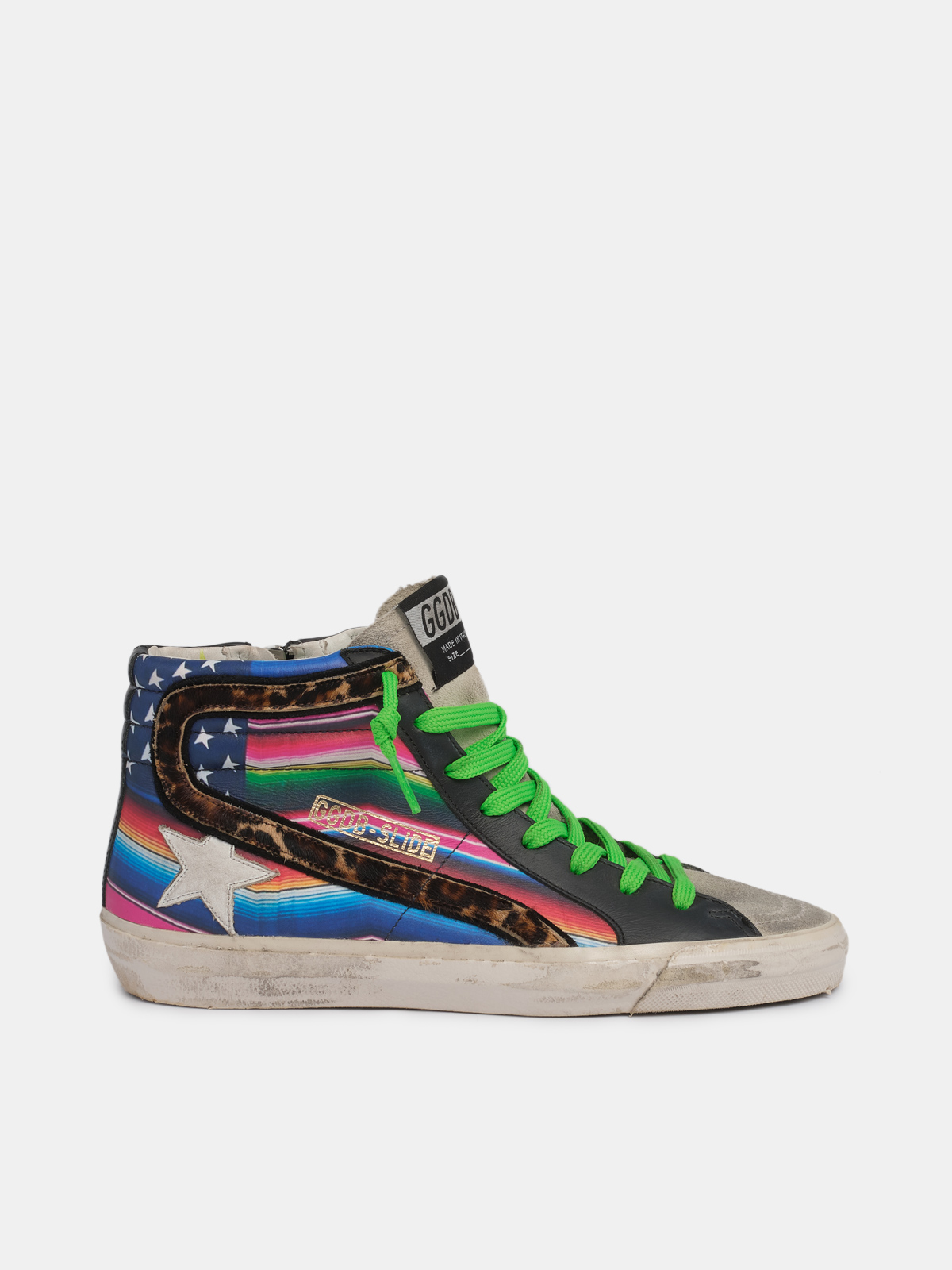 Golden Goose - Slide sneakers with multicoloured flag and leopard-print pony skin inserts in