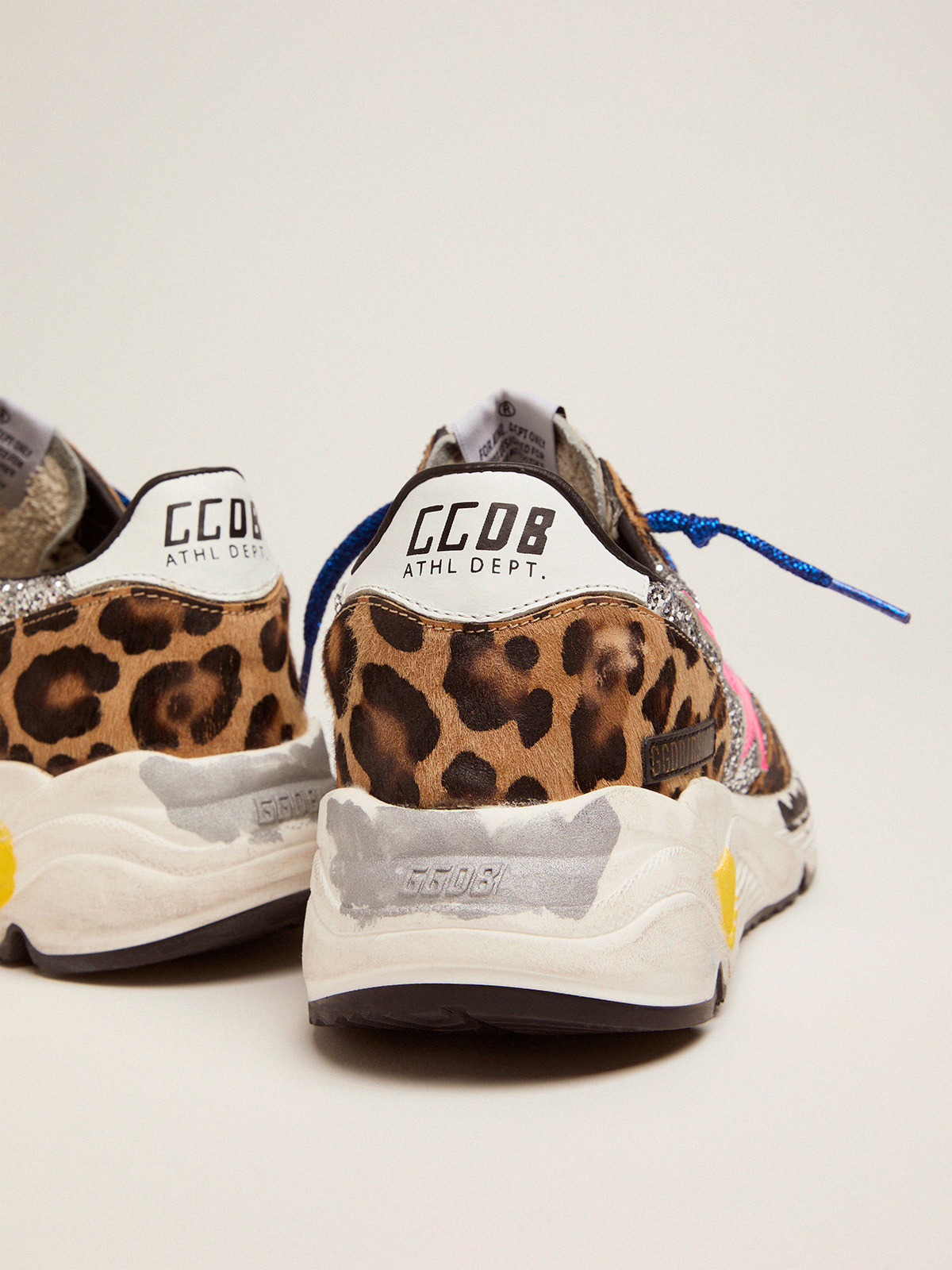 Golden Goose - Running Sole sneakers in leopard-print pony skin with silver glitter inserts. in