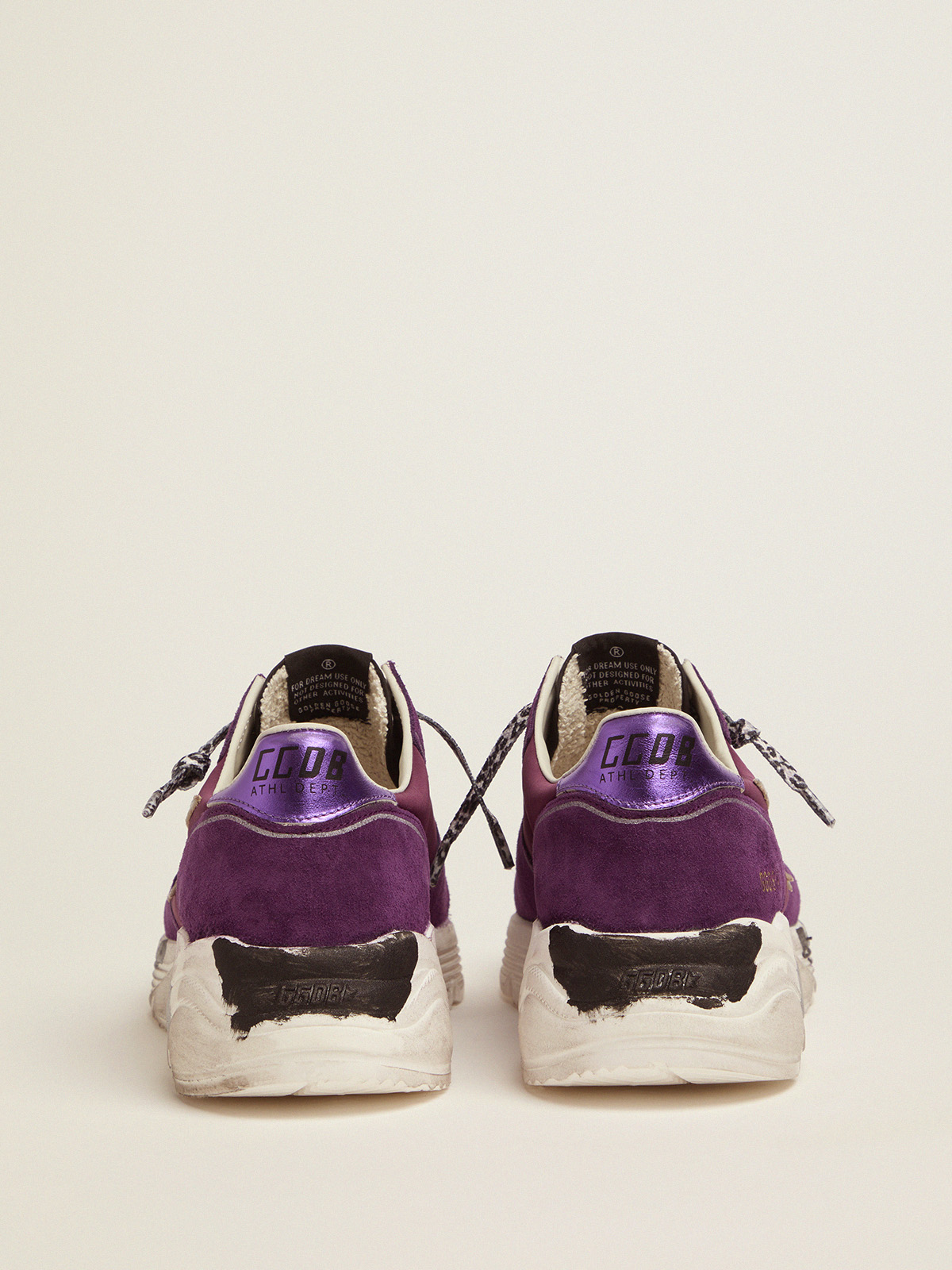 Golden Goose - Suede, leather and mesh Running Sole sneakers with metallic purple heel tab   in