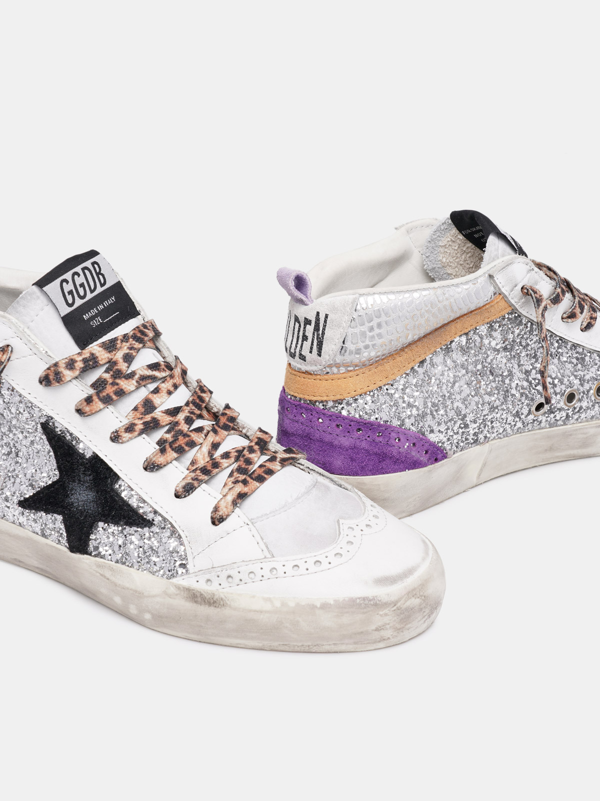 Golden Goose - Sneakers Mid Star argentate con glitter in