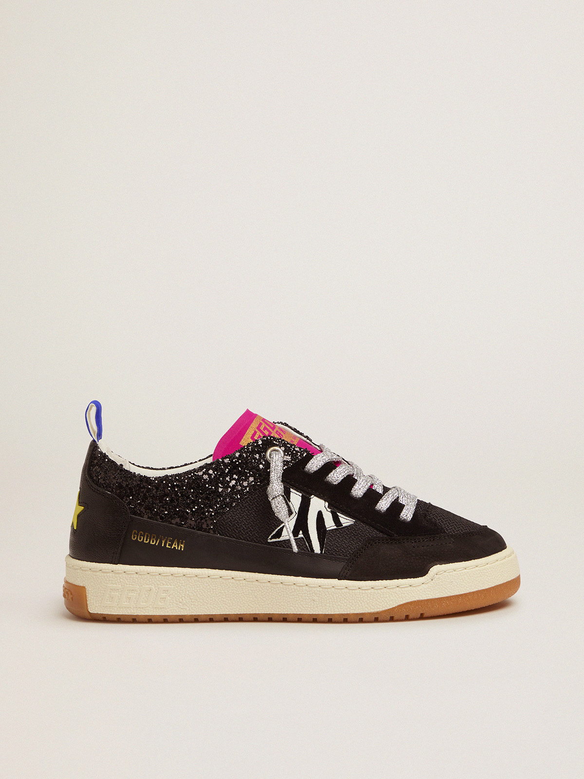Golden Goose - Women's black Yeah sneakers with glitter and zebra-print star in