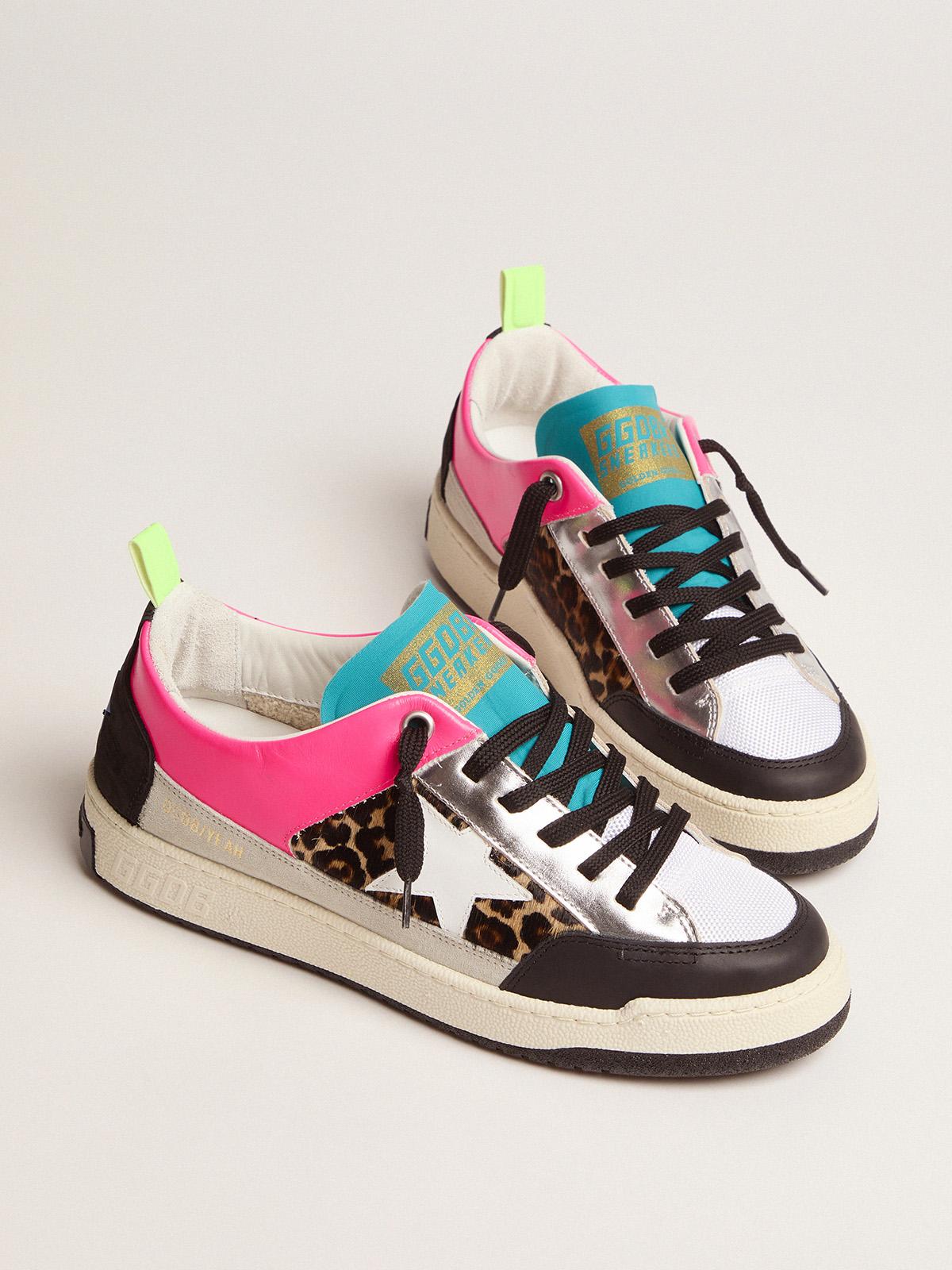 Golden Goose - Women's fuchsia and leopard-print Yeah sneakers   in