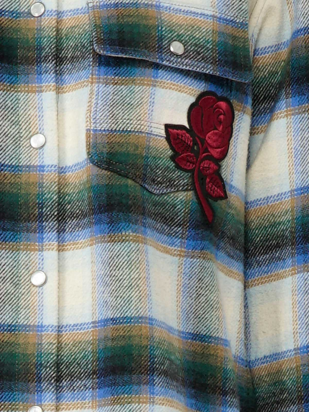 Golden Goose - Allison shirt in checked flannel with rose patch in