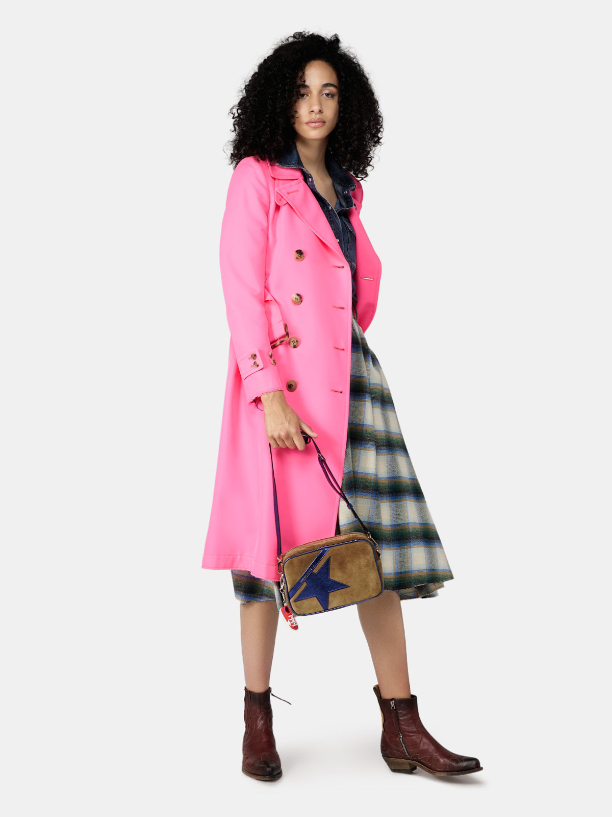 Golden Goose - Adele skirt in flannel with checked pattern in